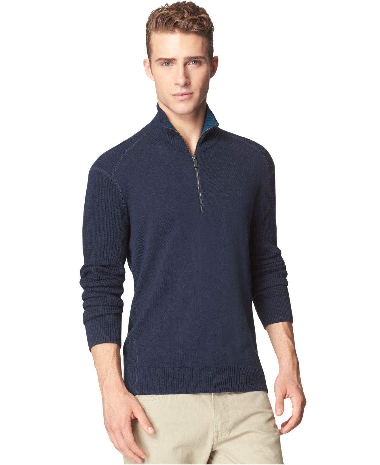 calvin klein jeans textured zip sweater in blue for men. Black Bedroom Furniture Sets. Home Design Ideas