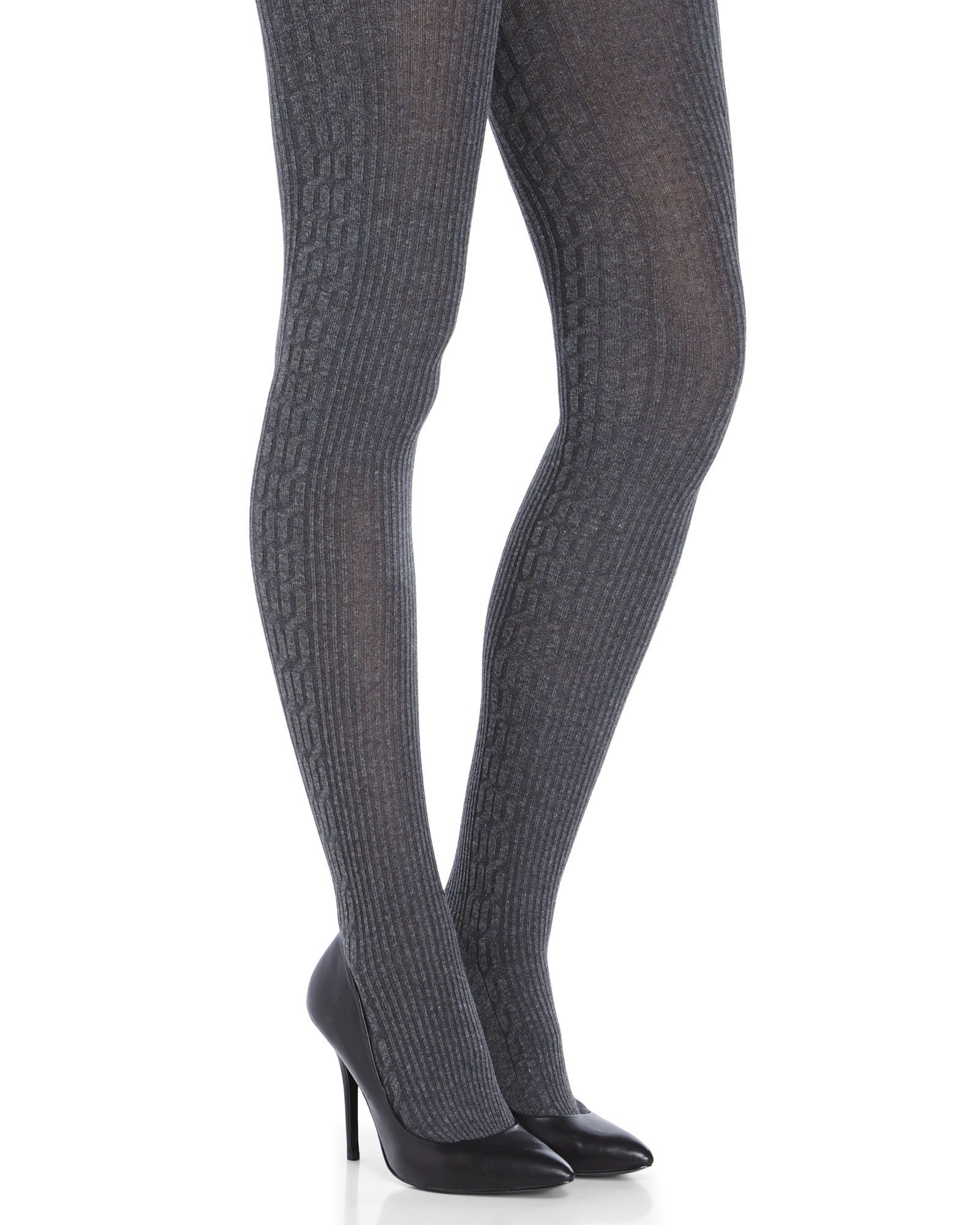 9c39a0dbe3755 Memoi Cable Knit Side Panel Sweater Tights in Gray - Lyst