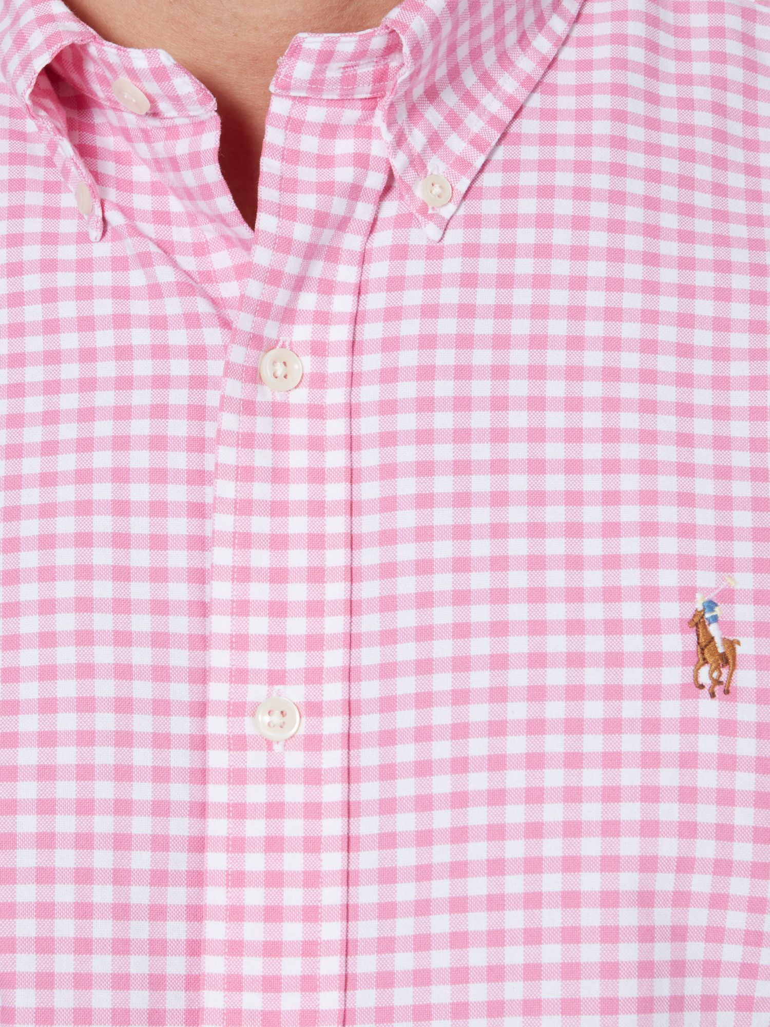 polo ralph lauren classic long sleeve gingham shirt in pink for men lyst. Black Bedroom Furniture Sets. Home Design Ideas