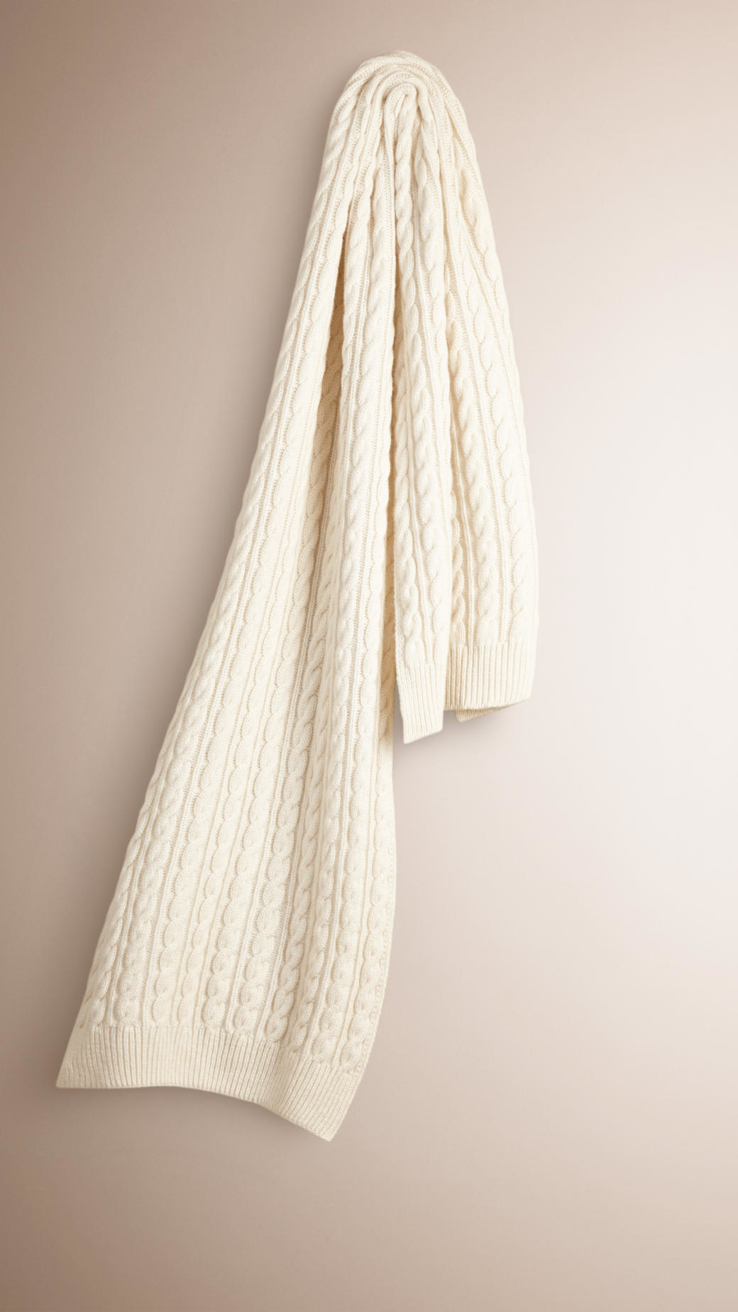Knitting Pattern Burberry Scarf : Burberry Wool Cashmere Cable Knit Scarf Natural in White Lyst