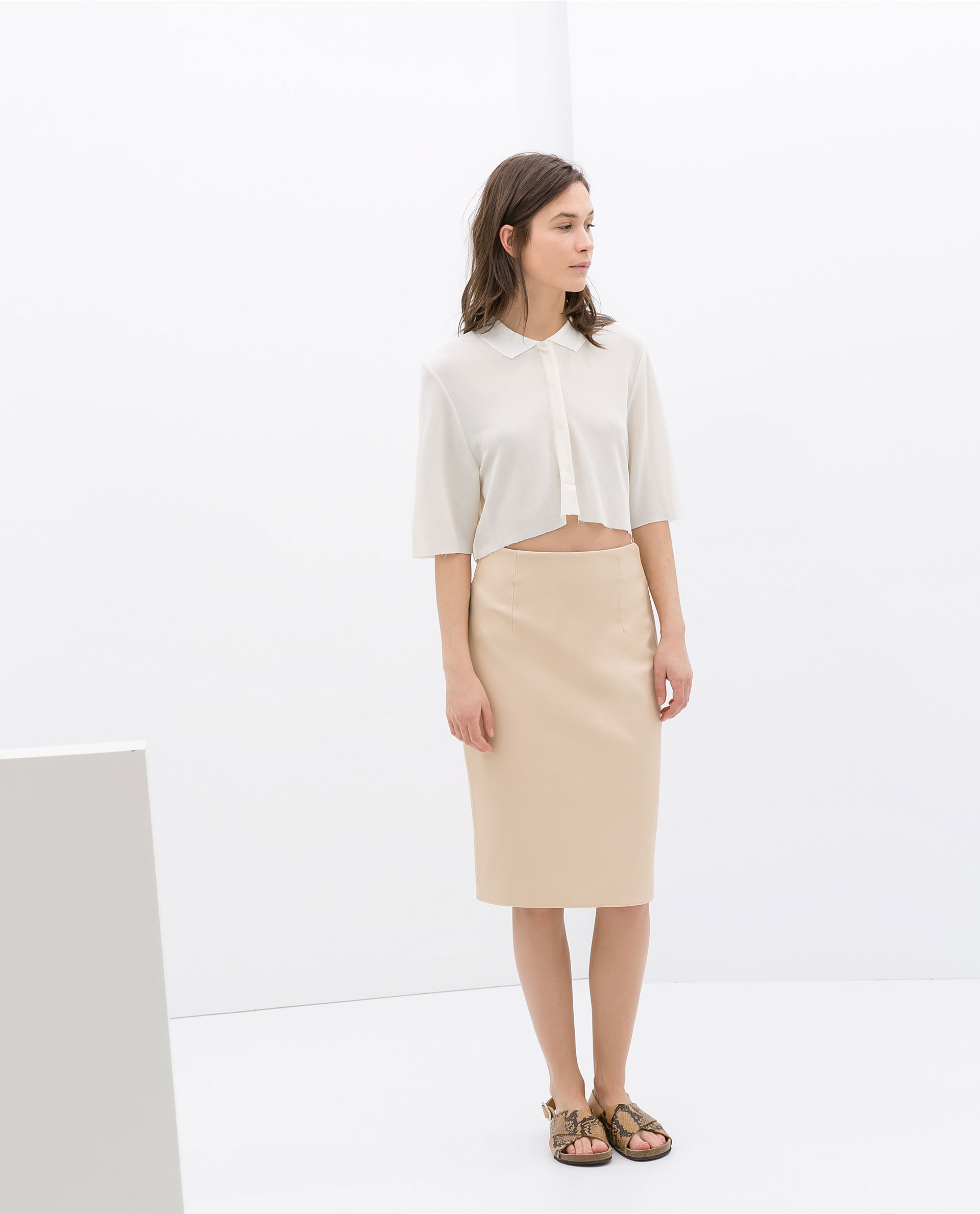 Zara Faux Leather Tube Skirt in Natural | Lyst