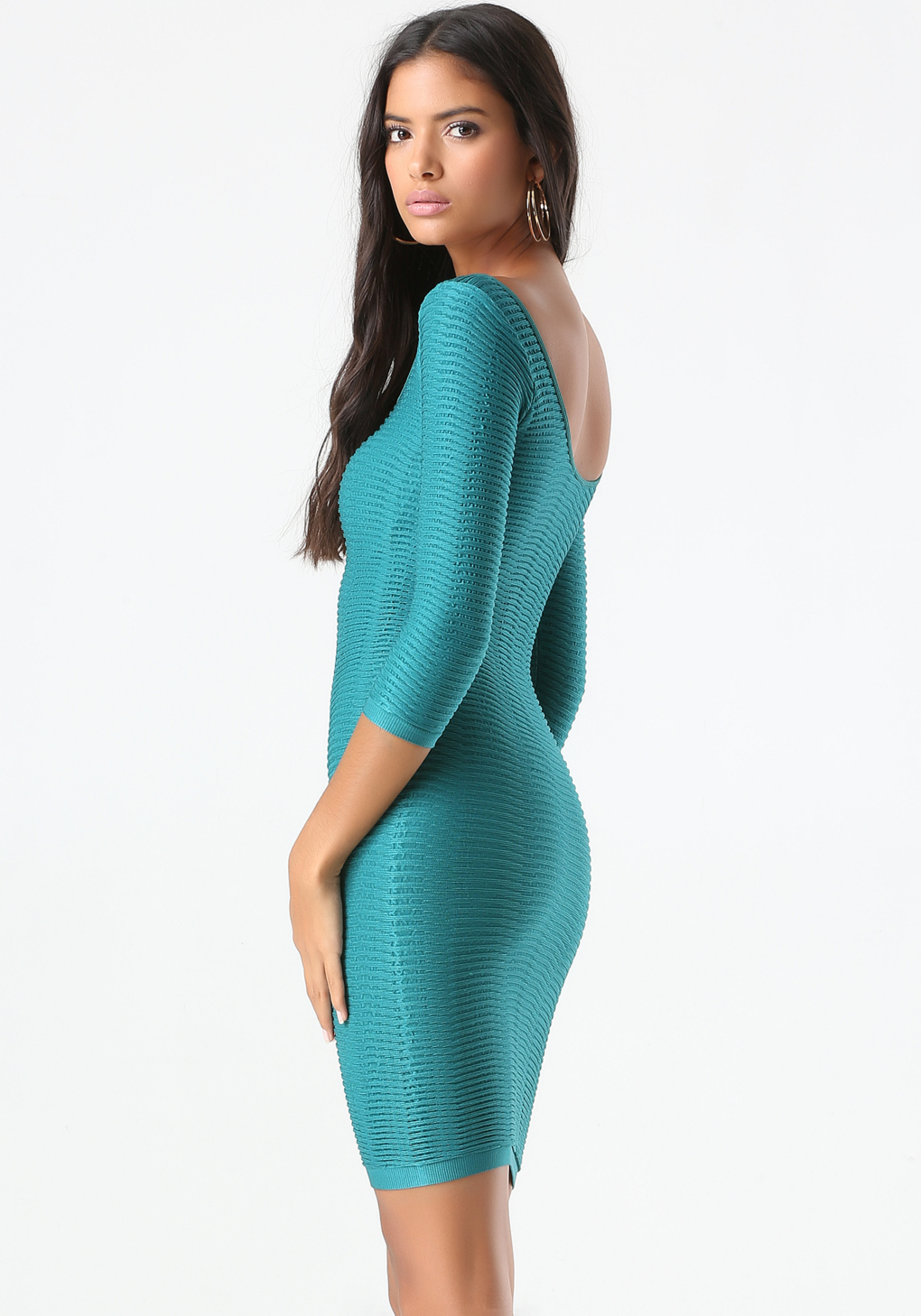 Lyst - Bebe Textured Bodycon Dress in Blue