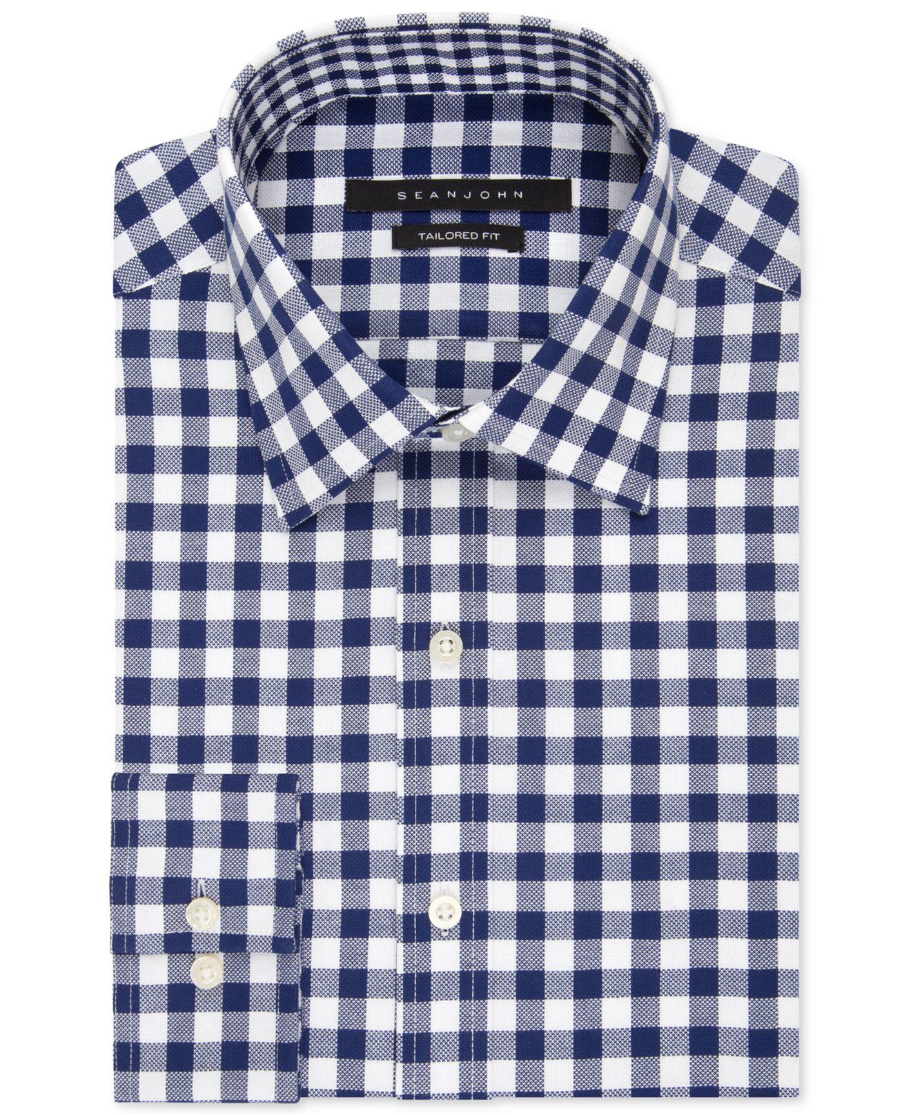 sean john dark blue bold gingham dress shirt in blue for