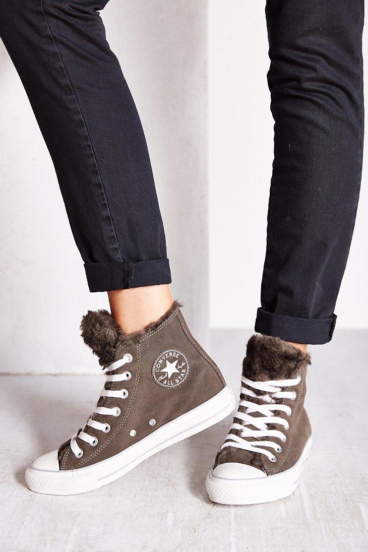 Converse Suede Fur Womens High Top Sneaker In Gray Lyst