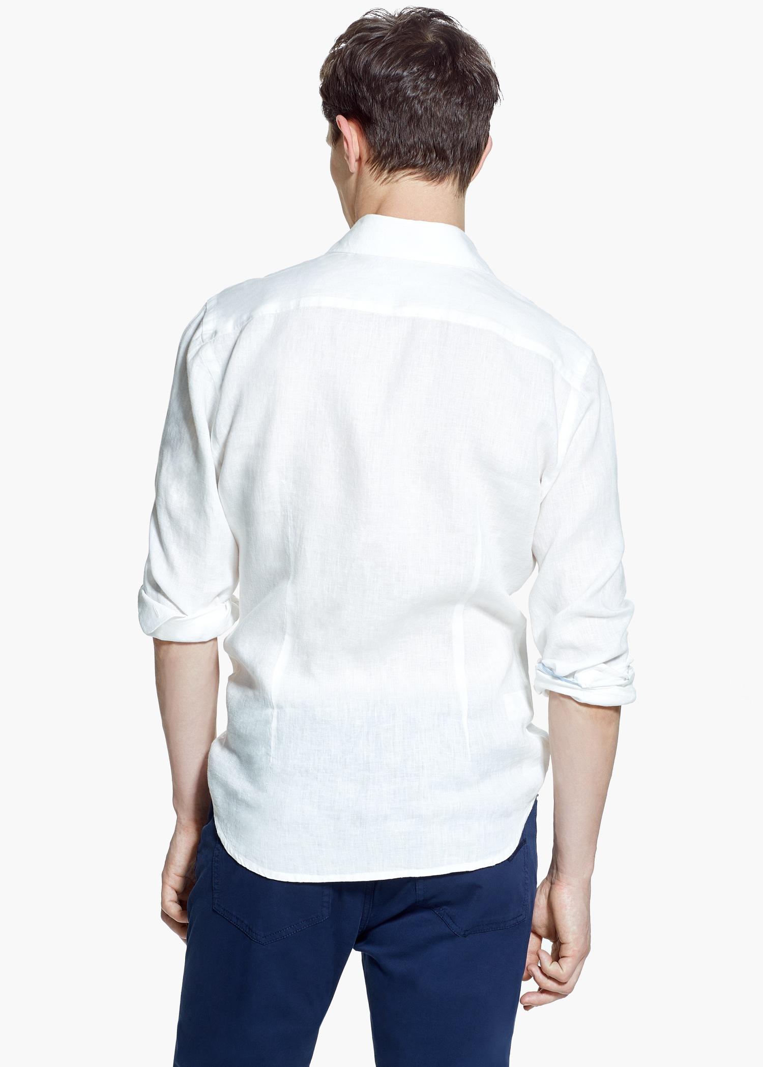 Lyst Mango Slim Fit Linen Shirt In White For Men