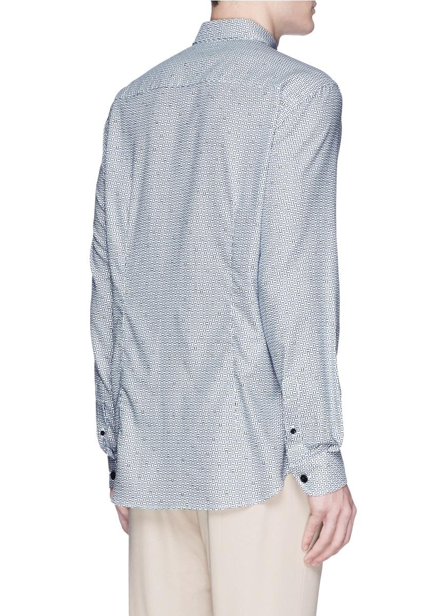 lyst armani geometric pattern shirt in blue for men