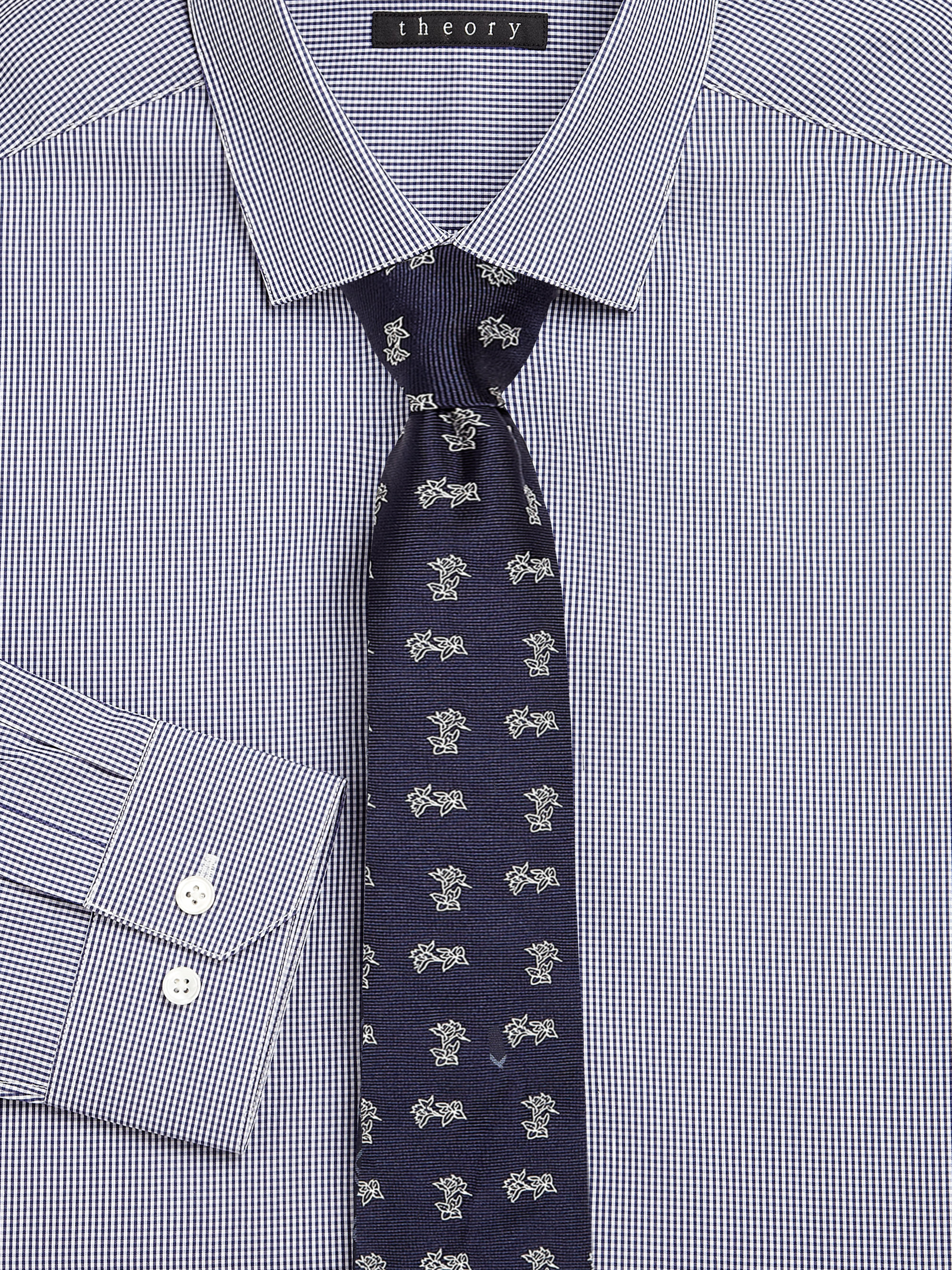 Theory Roadster Tonal Check Skinny Tie Navy One Size