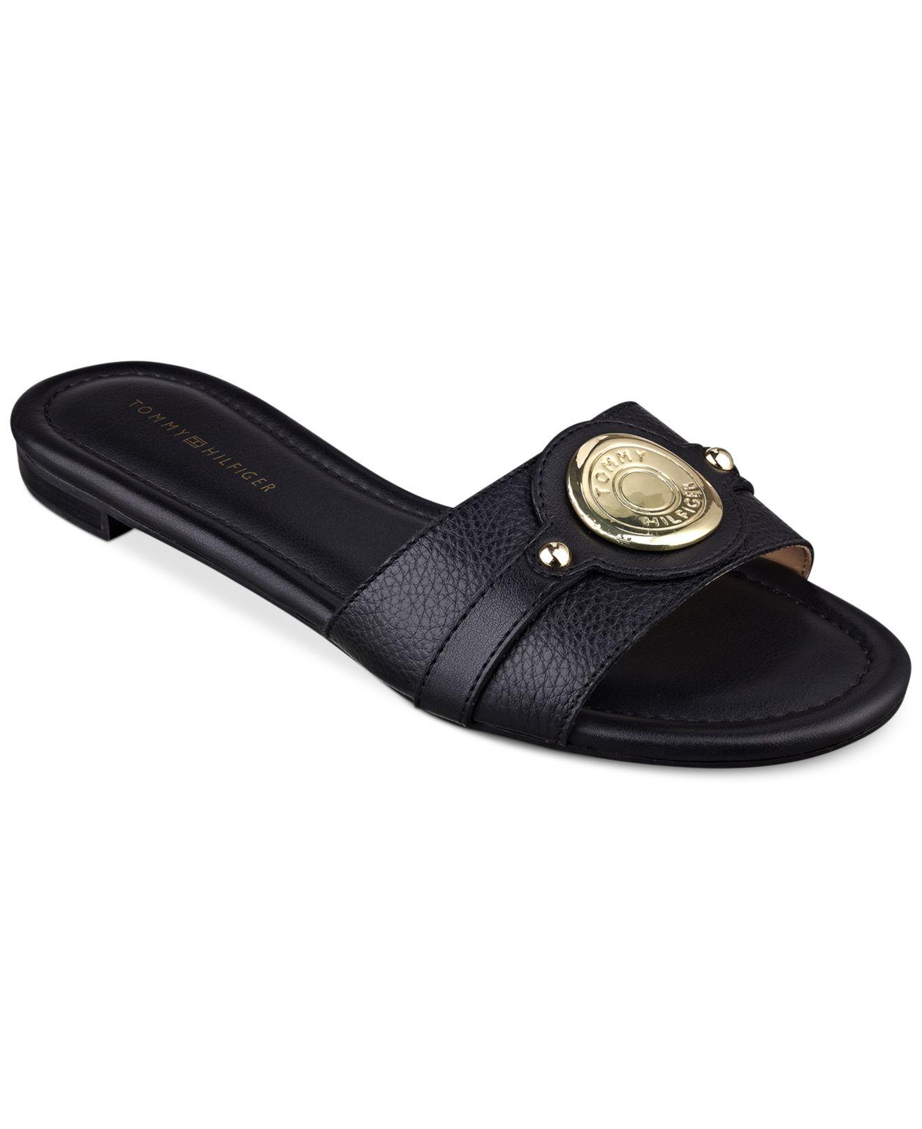 Tommy Hilfiger Women S Icela Slide Sandals In Black Lyst