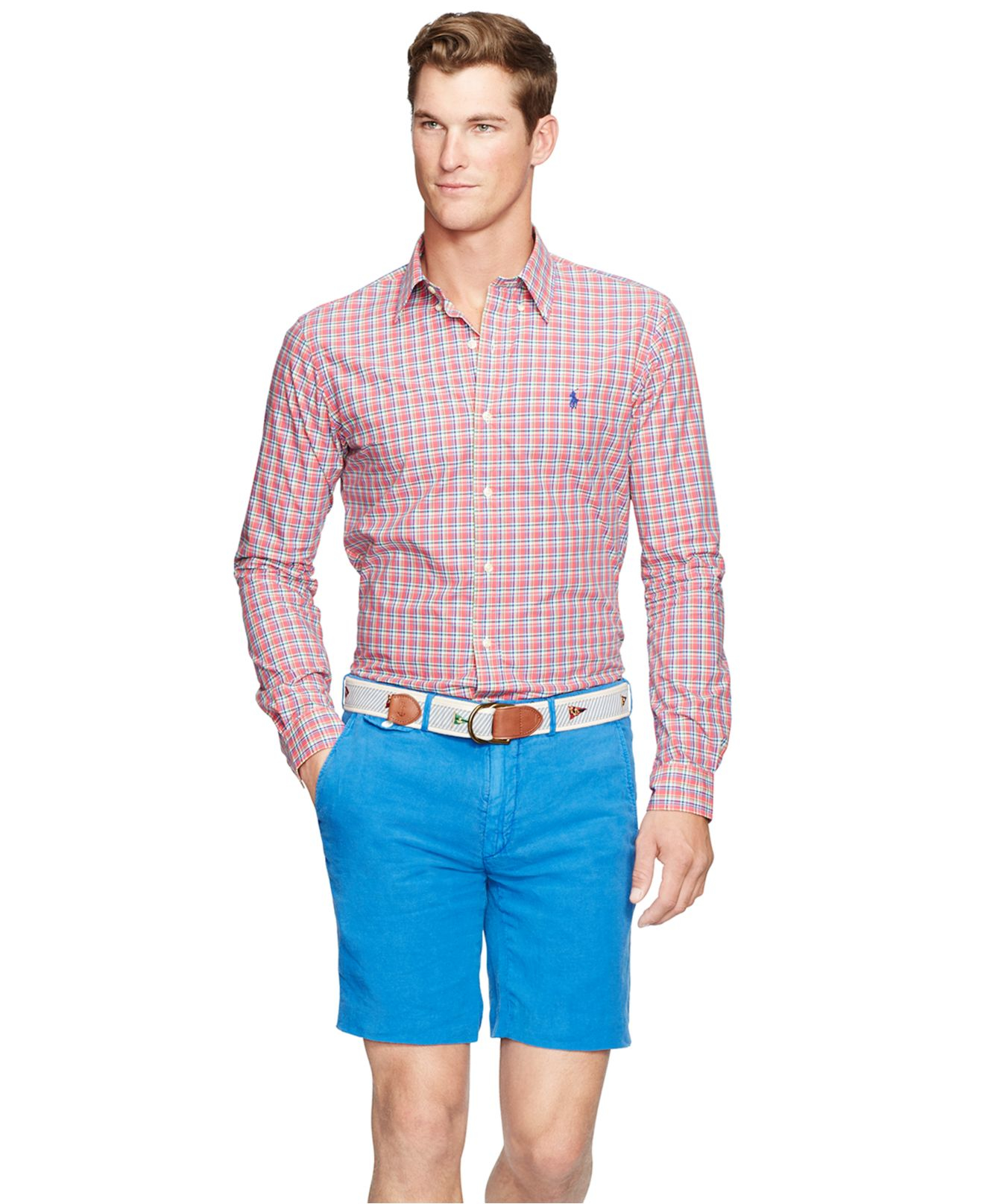 968ff9fcb0d ... promo code for lyst polo ralph lauren mens long sleeve checked poplin  shirt in 735f2 ff575