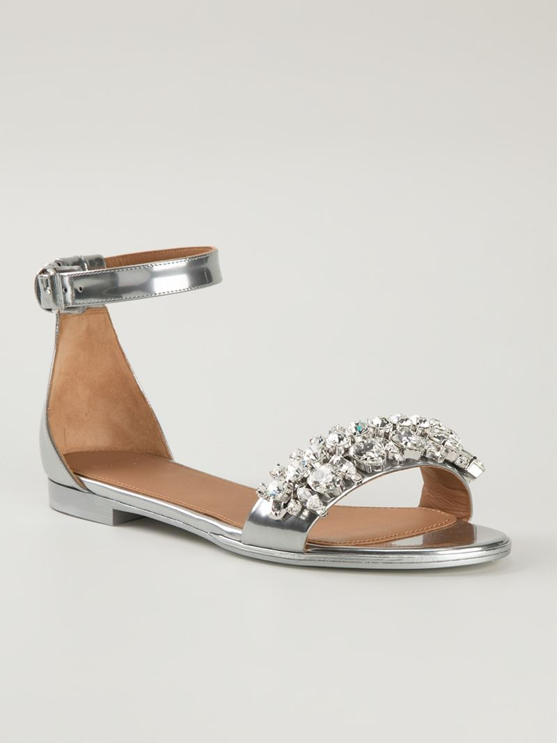 884556ebde55 Lyst - Givenchy Gemstone Flat Sandals in Metallic