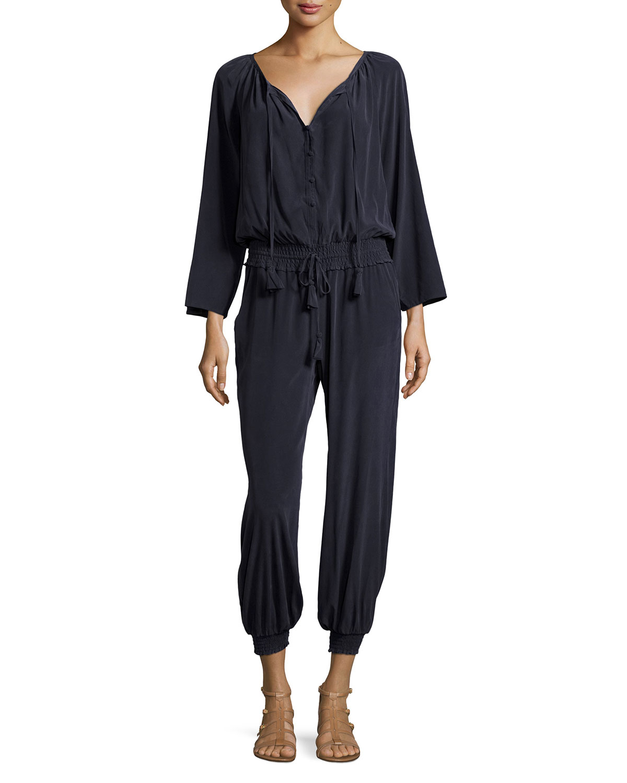 calypso st barth gardell long sleeve drawstring jumpsuit. Black Bedroom Furniture Sets. Home Design Ideas