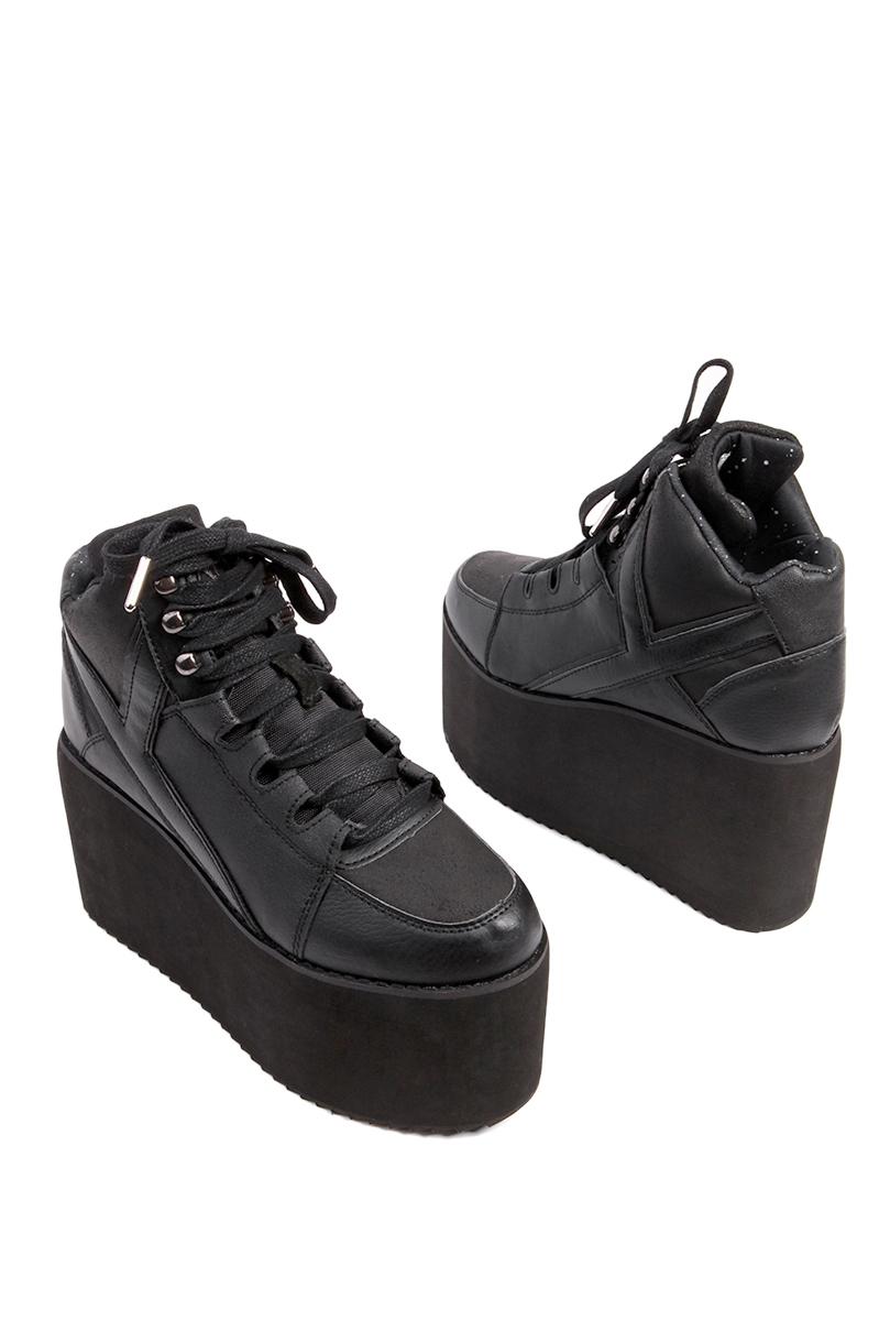 YRU Qozmo Black High Platform Sneakers