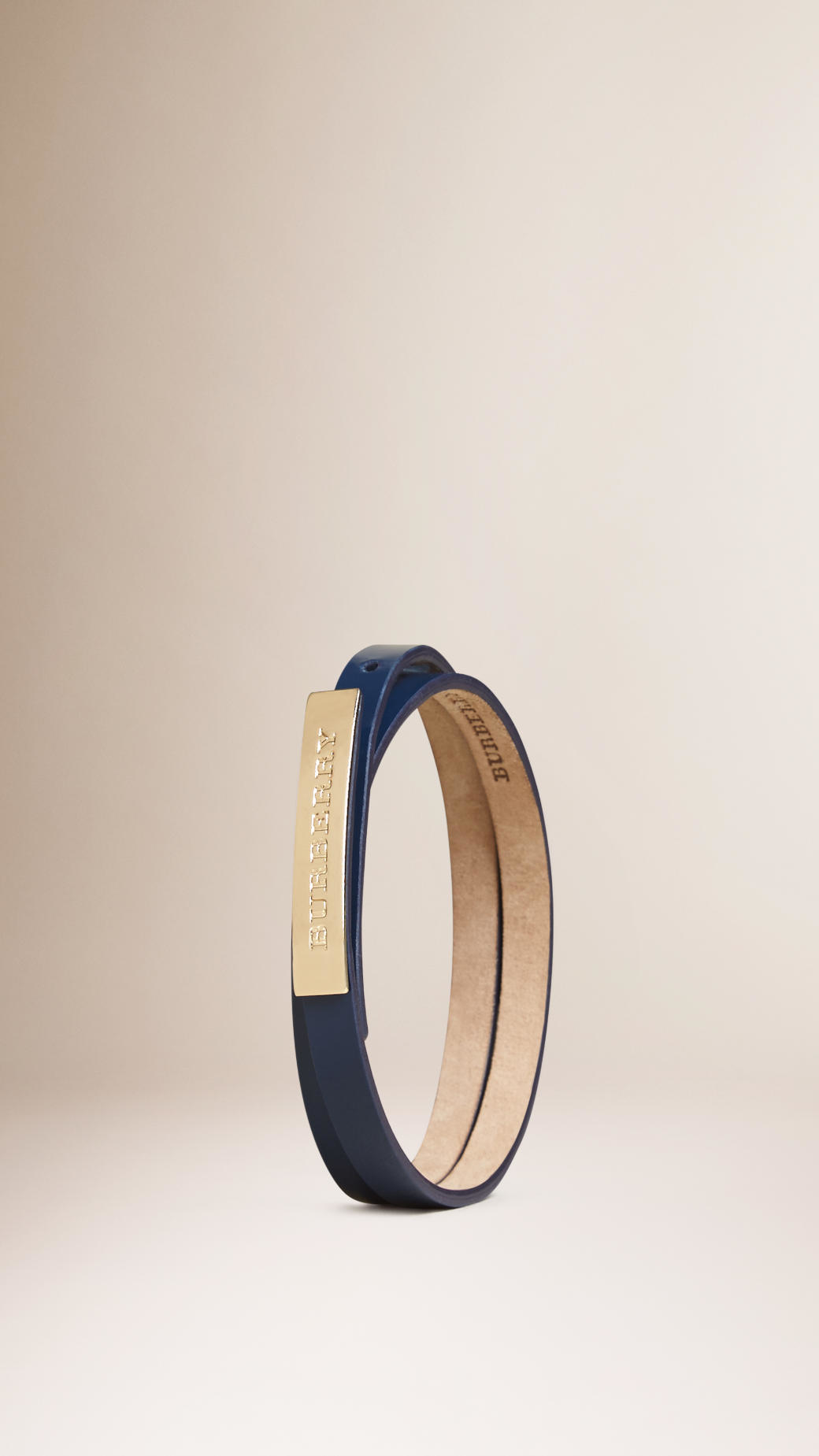 Leather Wraparound Bracelet Blue Carbon