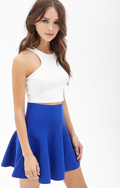 forever 21 high waisted skater skirt in blue royal lyst