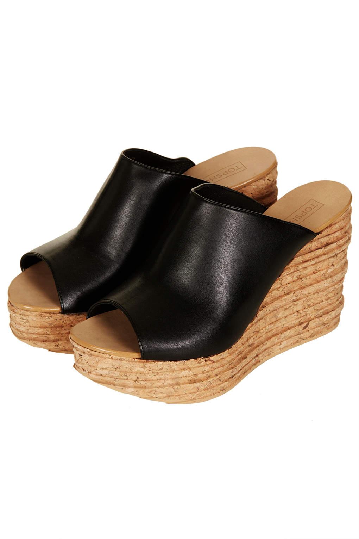 Lyst Topshop Walnut Mule Wedges In Black