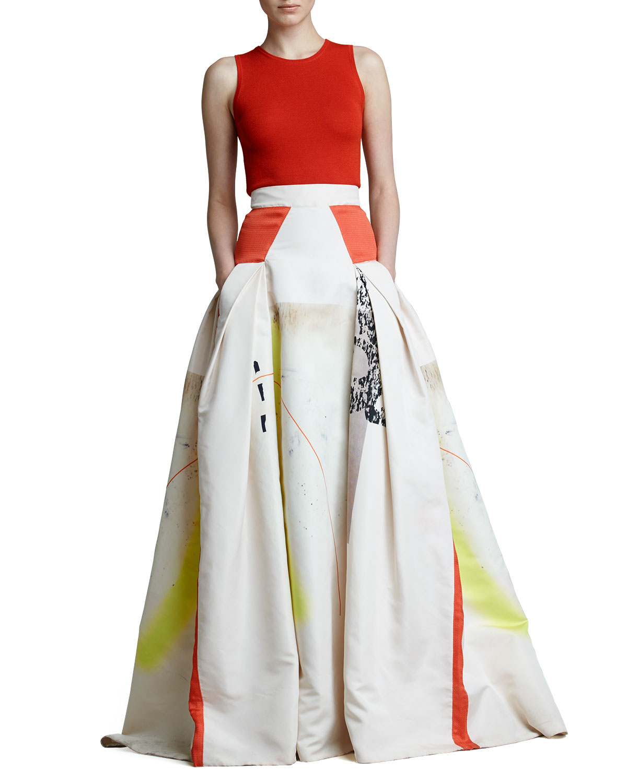 Lyst - Carolina Herrera Modern Art Print Ball Skirt in White