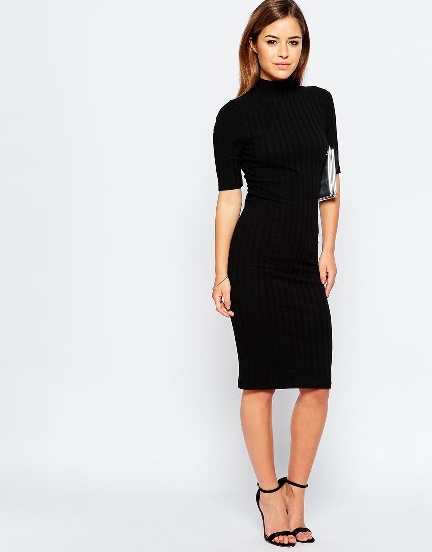 e204dfd06033 ASOS Petite Bodycon Midi Dress With High Neck In Chunky Rib in Black ...