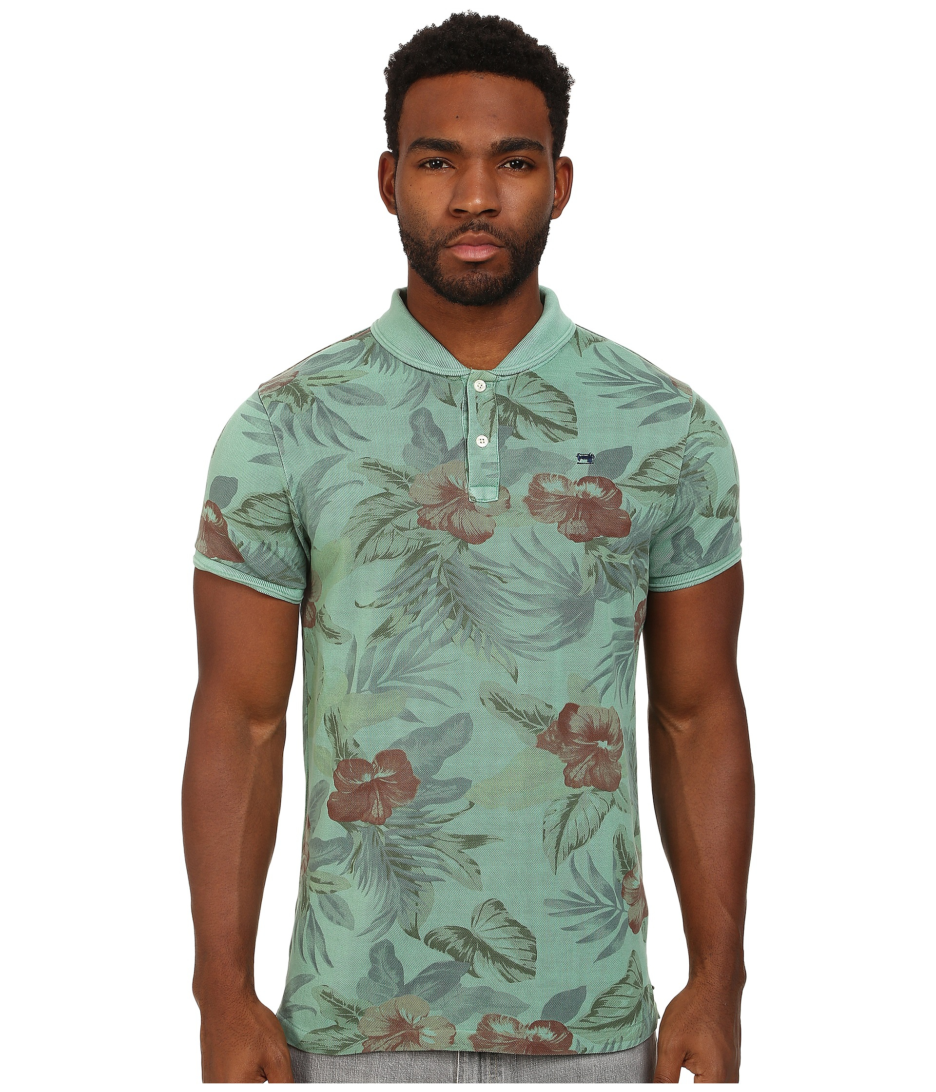 scotch soda floral polo with bomber collar in green for men lyst. Black Bedroom Furniture Sets. Home Design Ideas