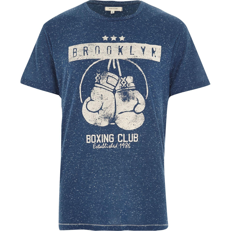 River island blue marl brooklyn boxing club print t shirt for T shirts for clubs