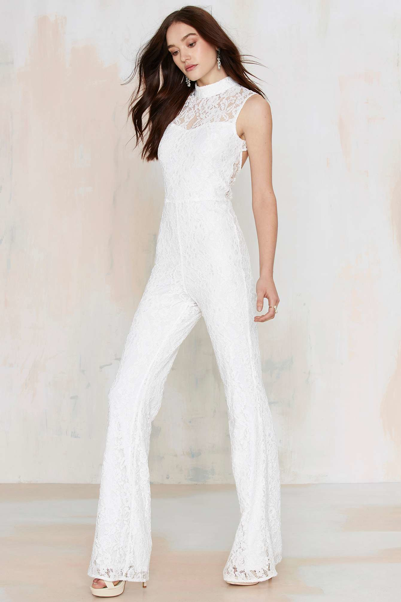 e81c8ffb345 Lyst - Nasty Gal Adriana Lace Jumpsuit - White in White