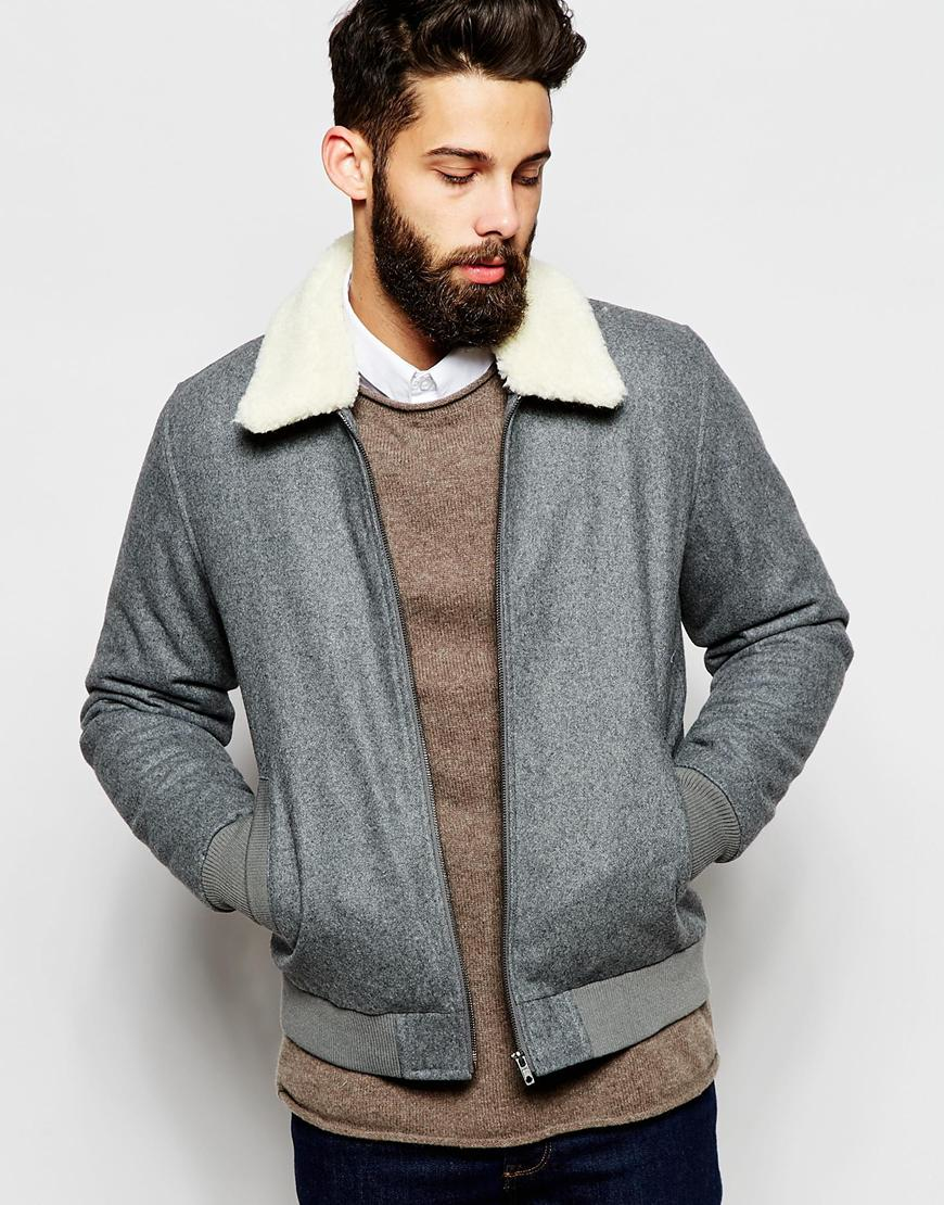 Asos Wool Harrington Jacket With Faux Shearling Collar In Light ...