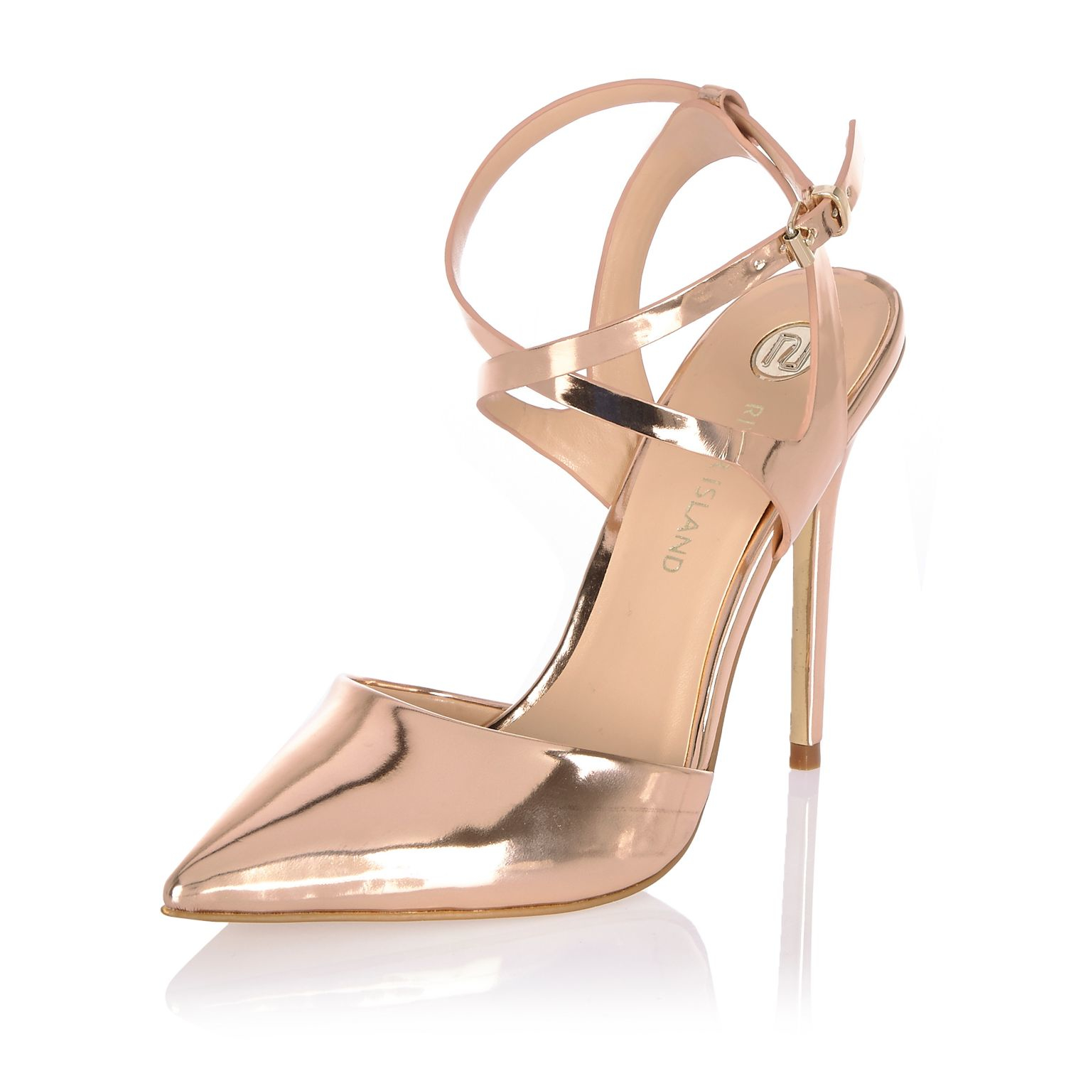 bba989ce206 Lyst - River Island Metallic Gold Pointed Court Heels in Metallic