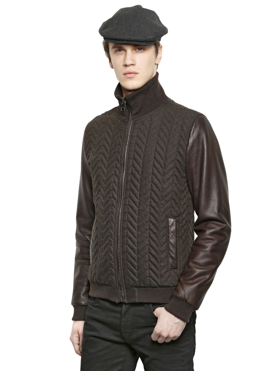 Dolce Gabbana Quilted Wool Flannel Bomber Jacket In