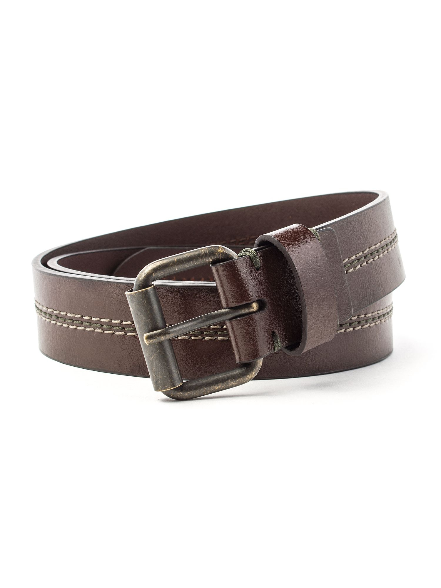 racing green casual leather belt in brown for lyst