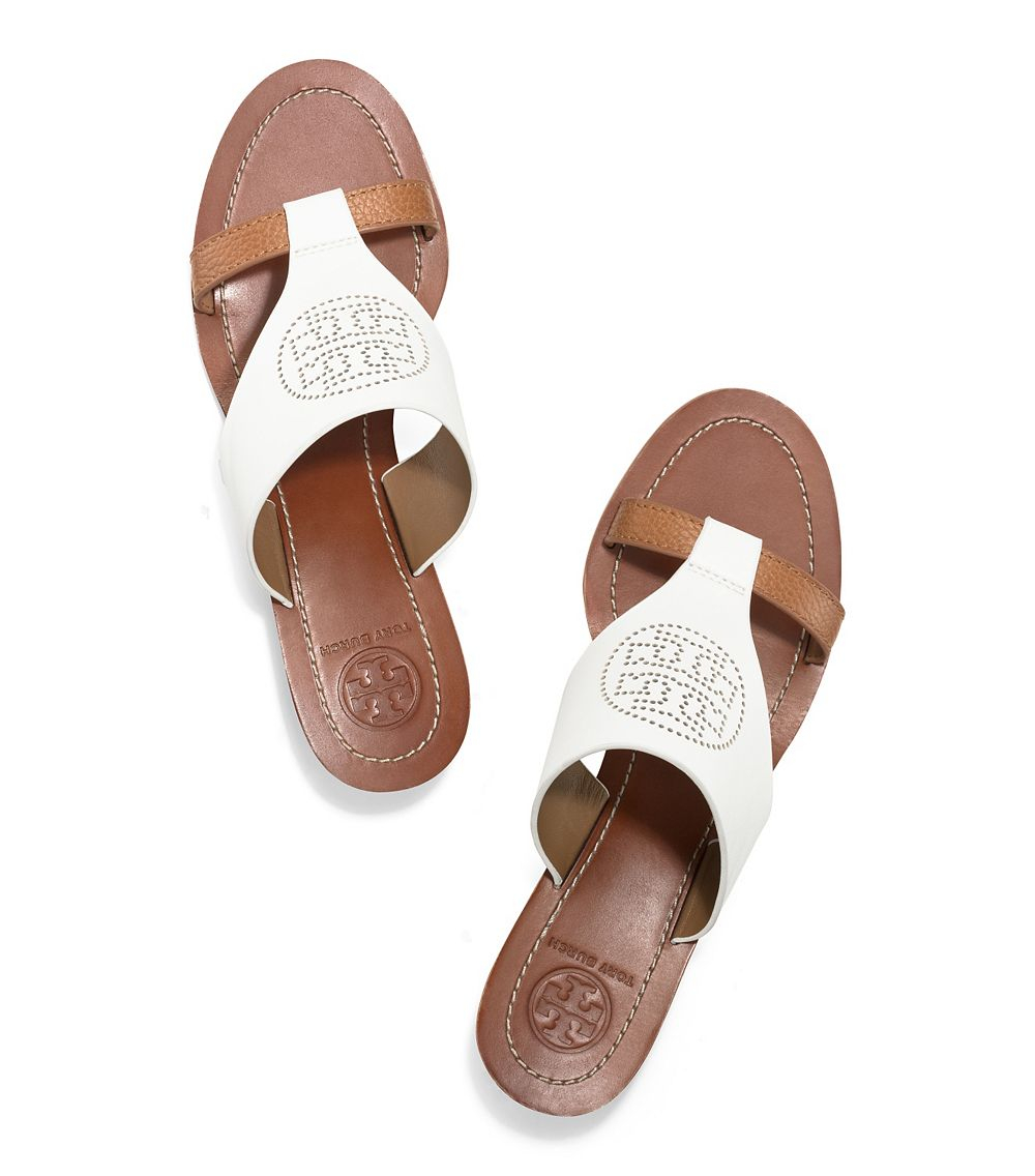 Tory Burch Perforated Logo Wedge In White