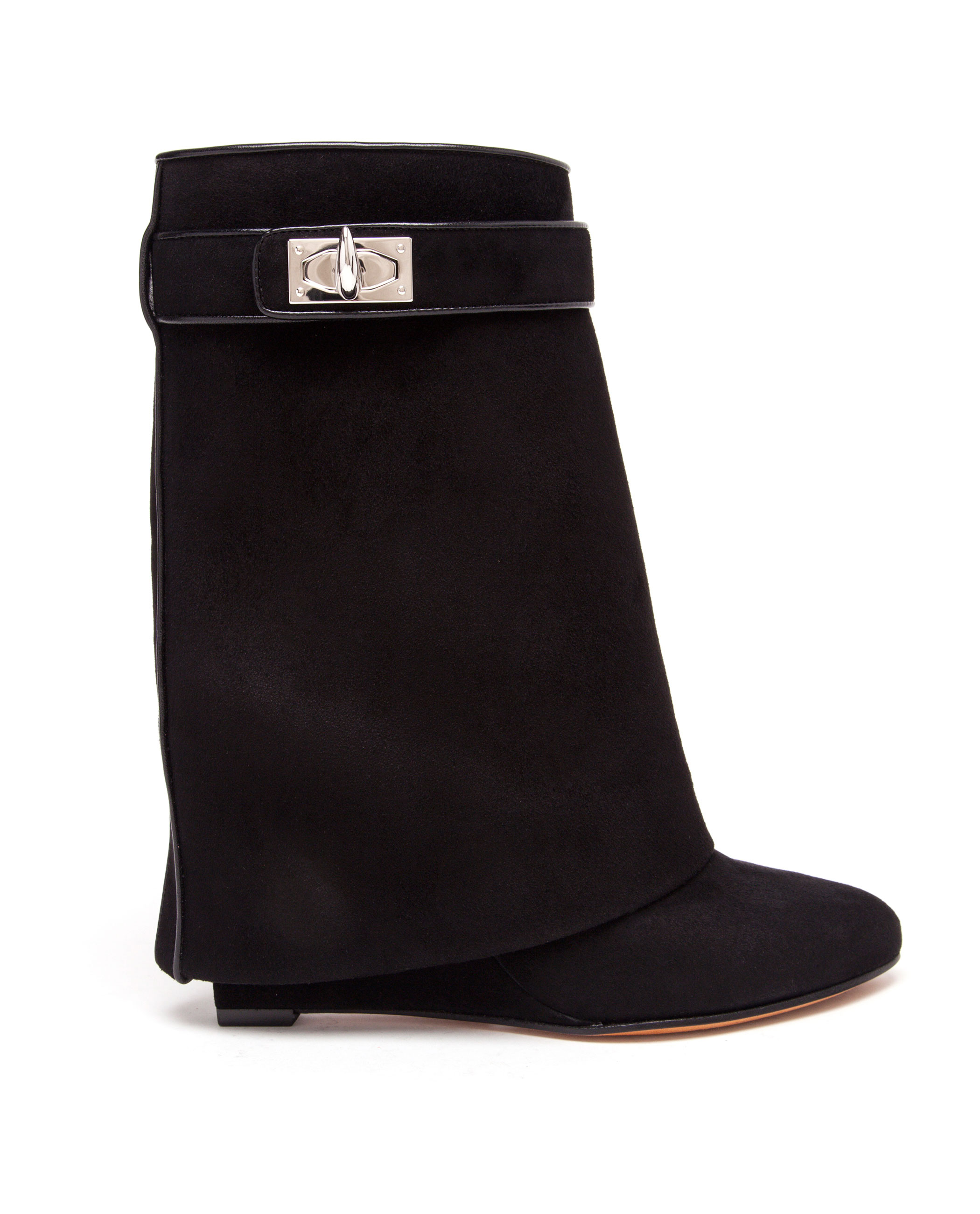 eb7987b8f69 Givenchy Shark Lock Suede Wedge Ankle Boots in Black - Lyst