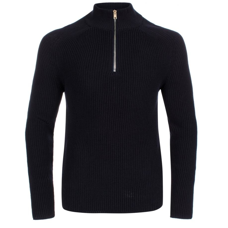 Womens Sweater Navy Zip 17