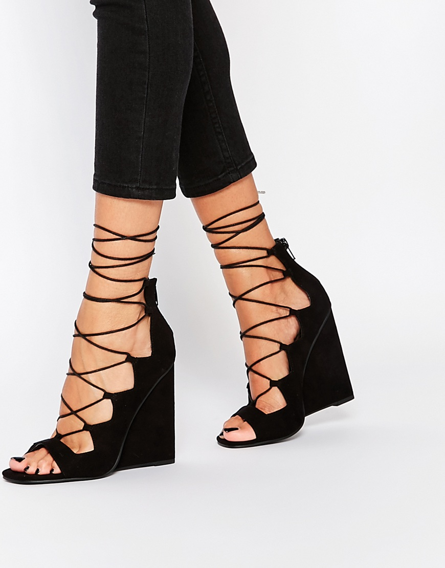 Asos Homegirl Lace Up Wedge Heels in Black | Lyst