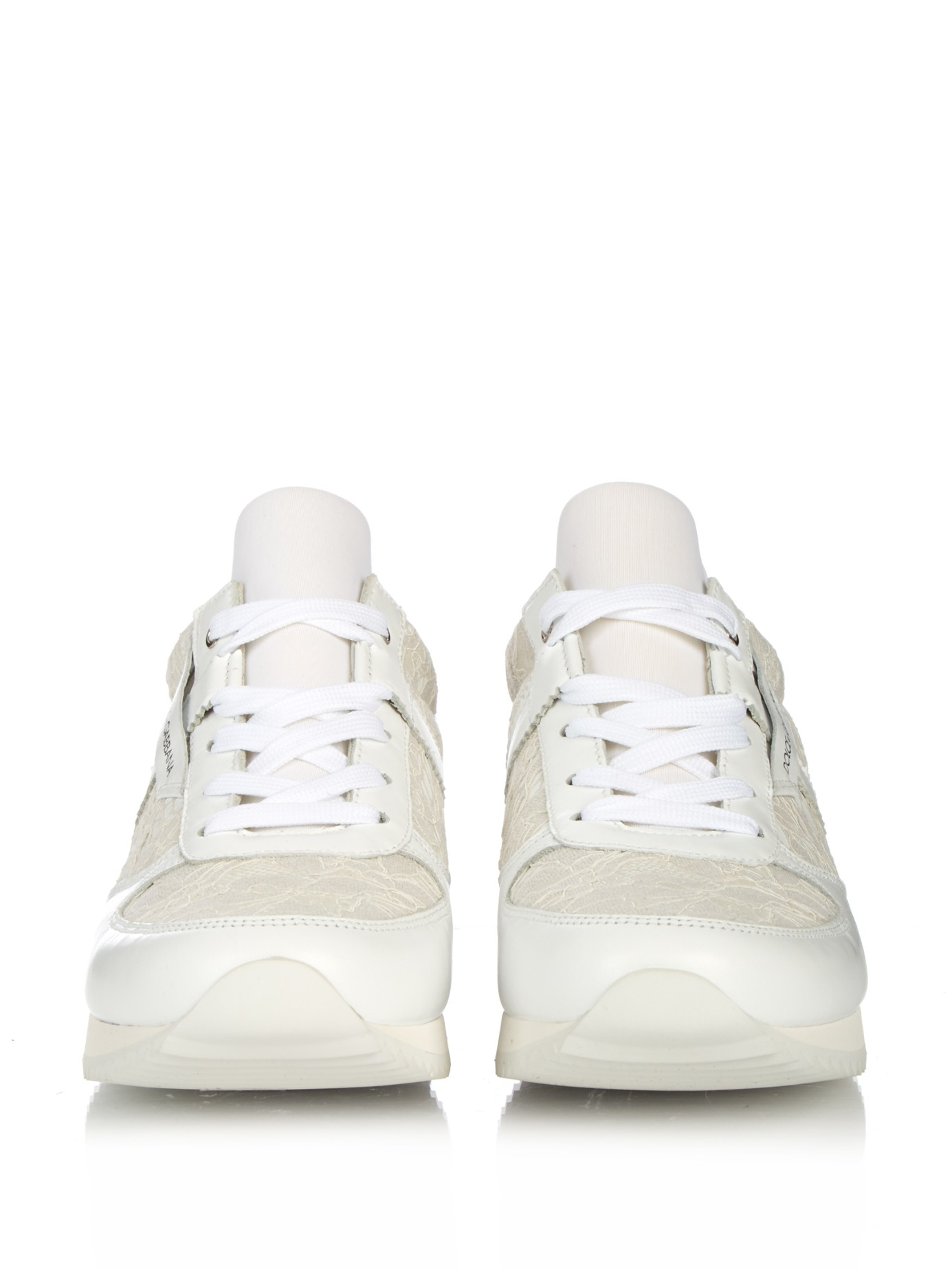 dolce gabbana lace panelled leather trainers in white lyst