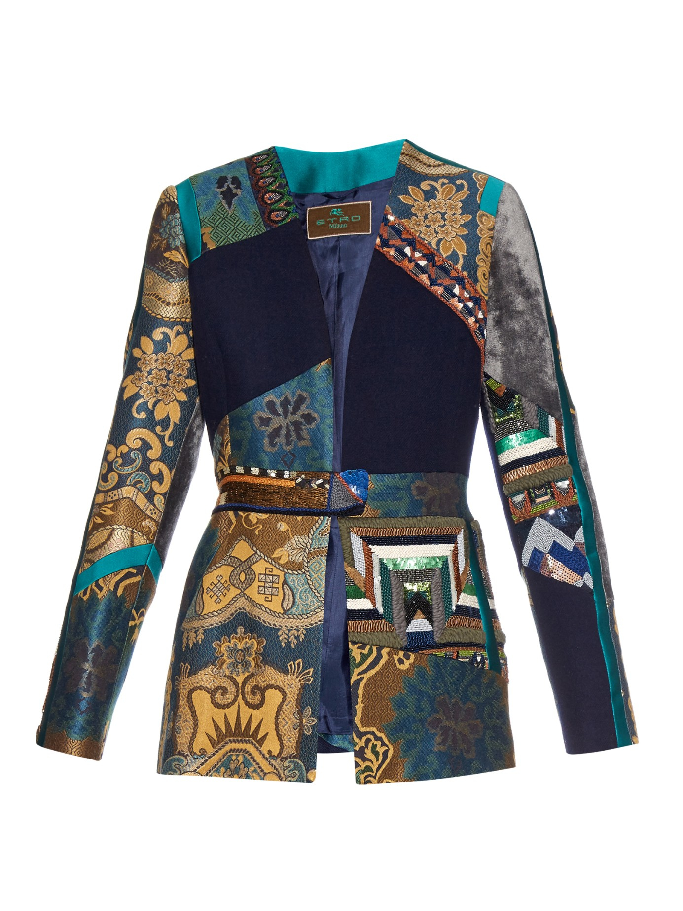 Etro Patchwork Embroidered Jacquard And Velvet Jacket In