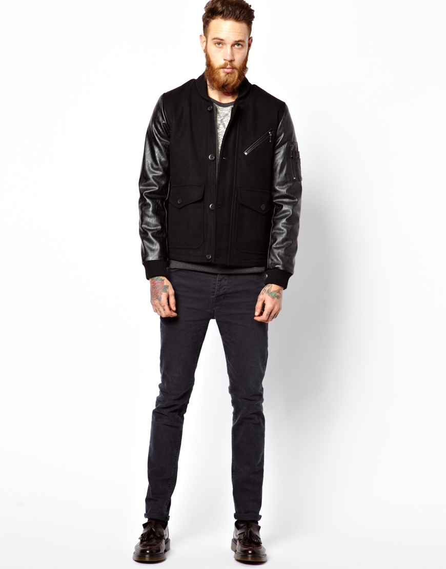 Asos Asos Wool Jacket with Faux Leather Sleeves in Black for Men ...