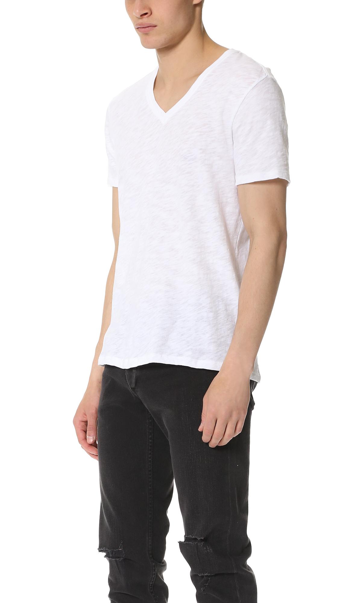 Lyst atm v neck slub jersey t shirt in white for men for What is a slub shirt