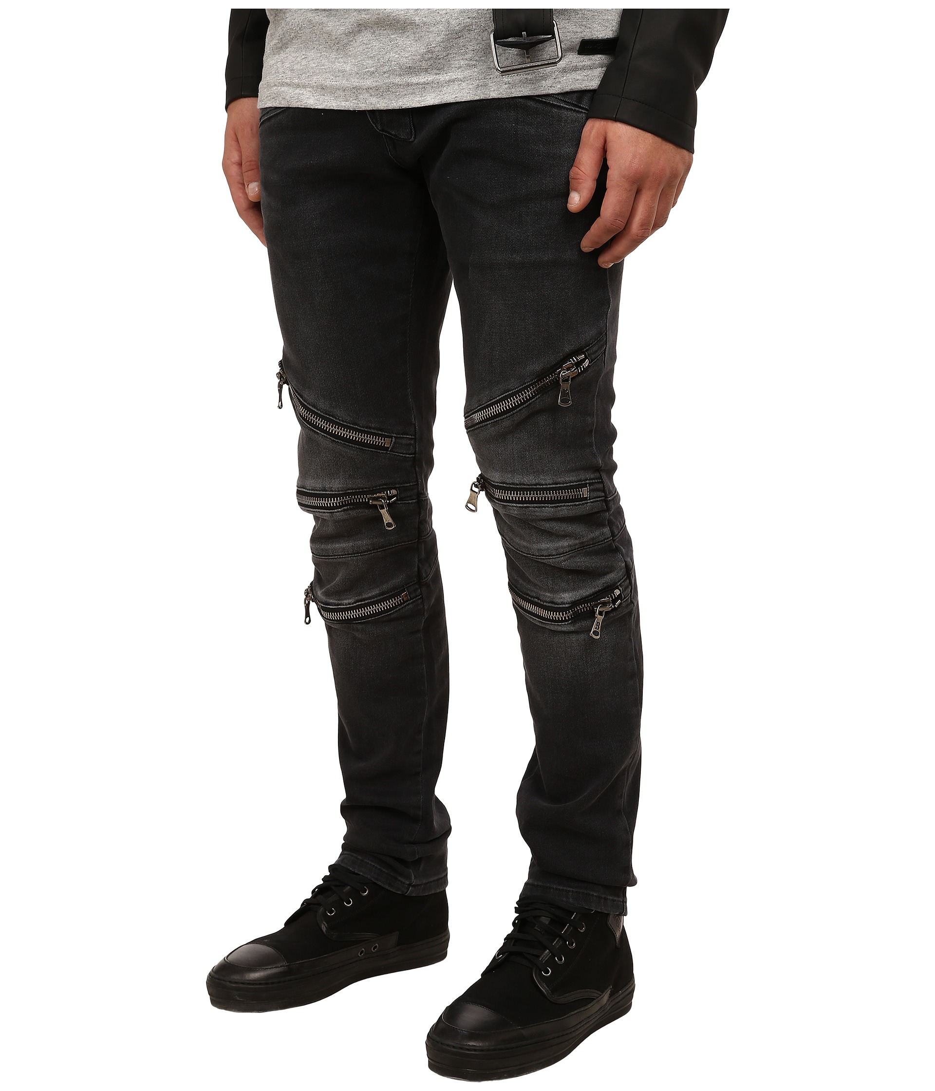 b130a6c88b6 Balmain Zipper Jeans in Black for Men - Lyst