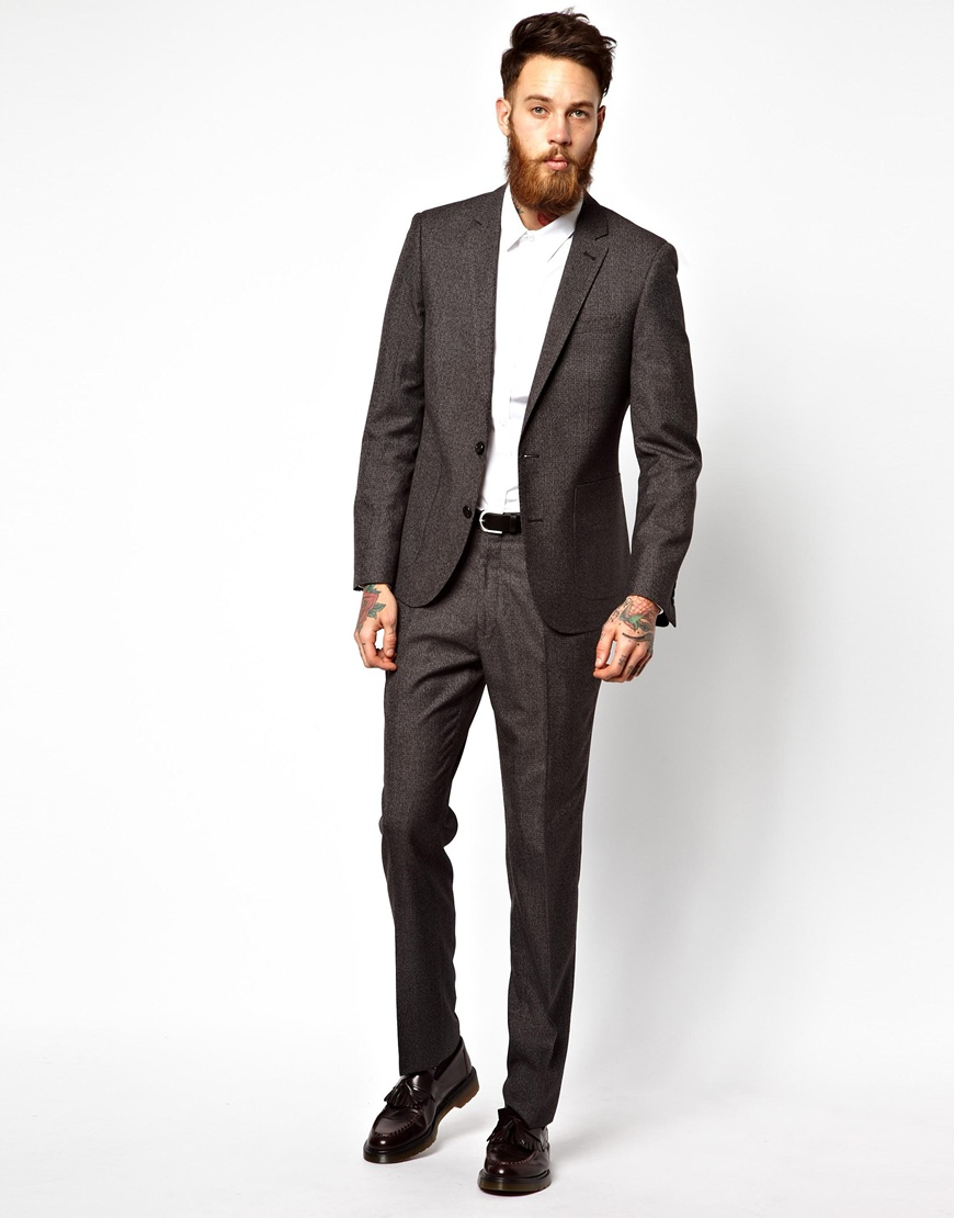 Asos Slim Fit Suit Pants In Slub in Black for Men | Lyst
