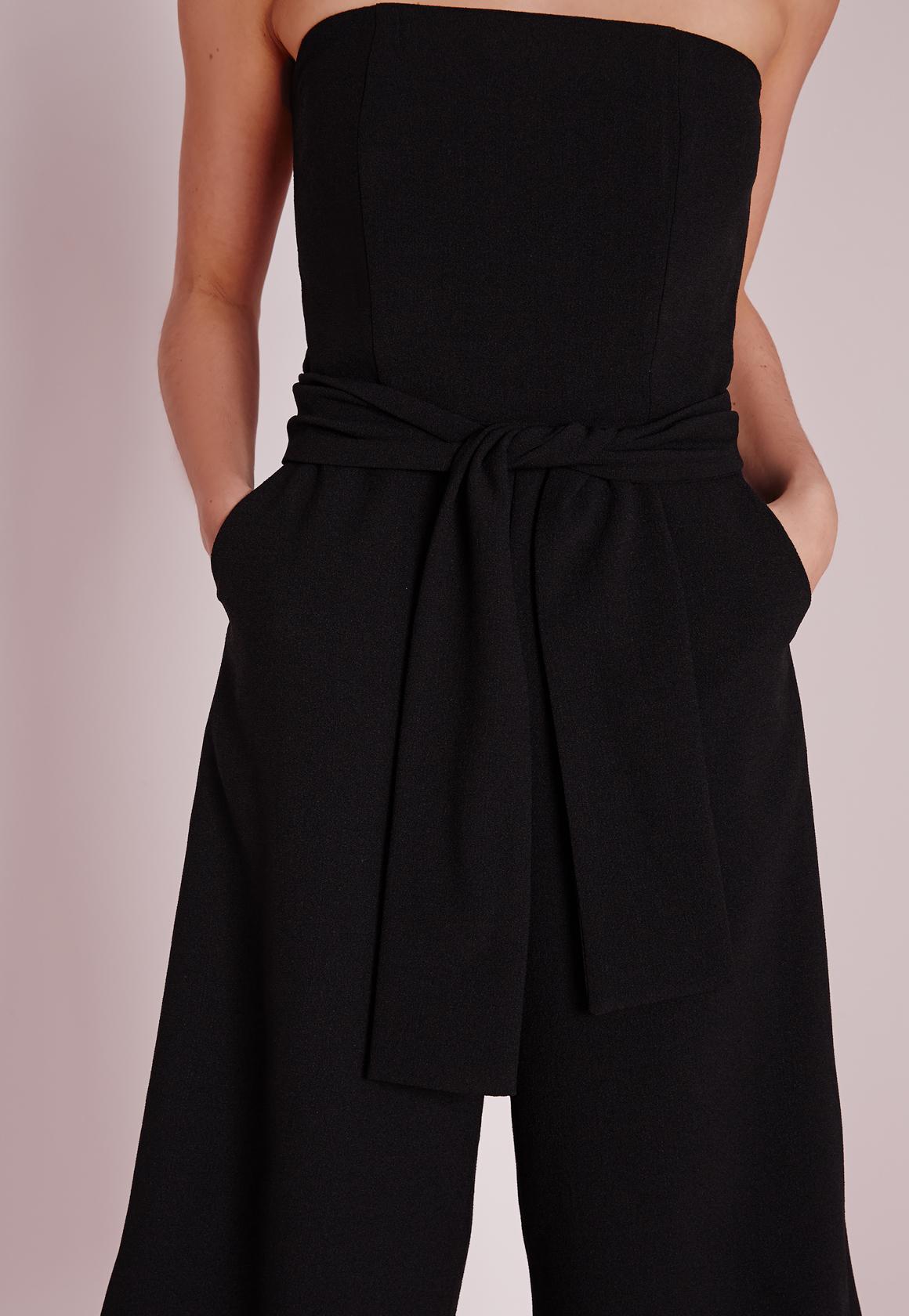 Lyst Missguided Bandeau Tie Waist Culotte Jumpsuit Black