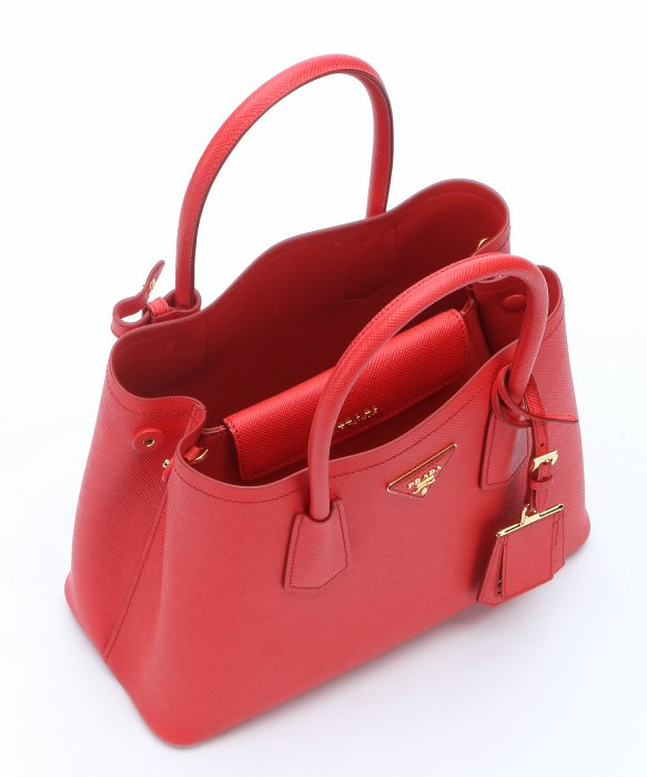top handle prada clutch bag red leather