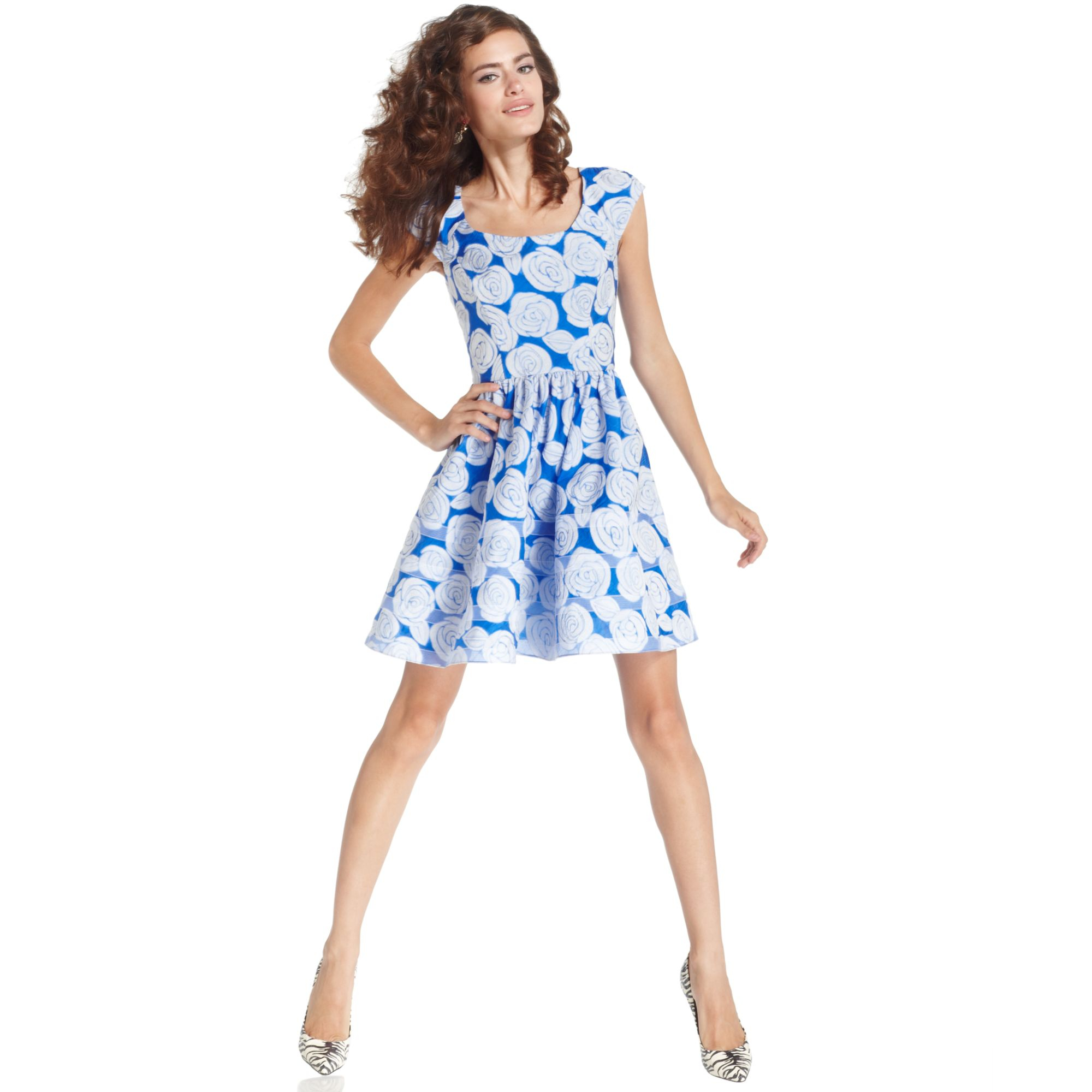 8a45e848ac Lyst - Betsey Johnson Cap Sleeve Floral Print Dress in White