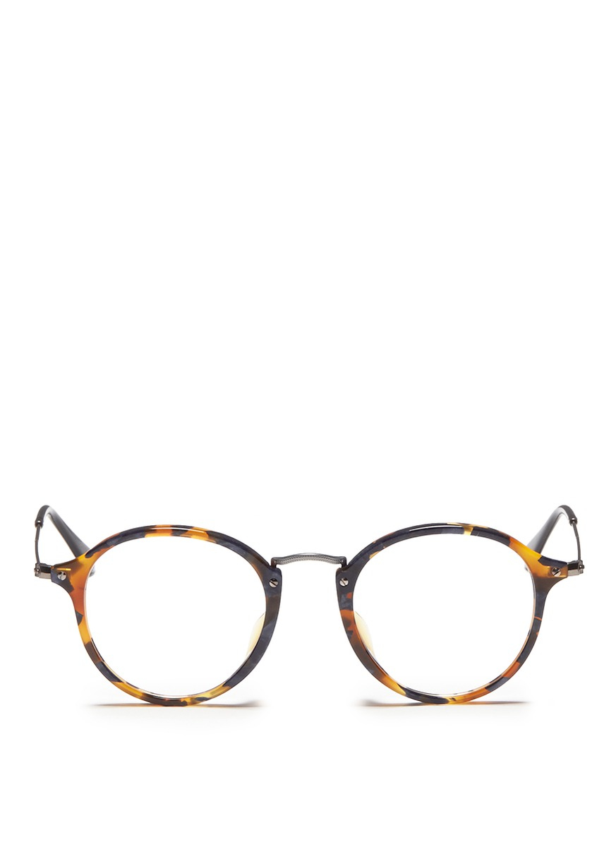 Lyst - Ray-Ban Acetate Round Frame Wire Temple Optical