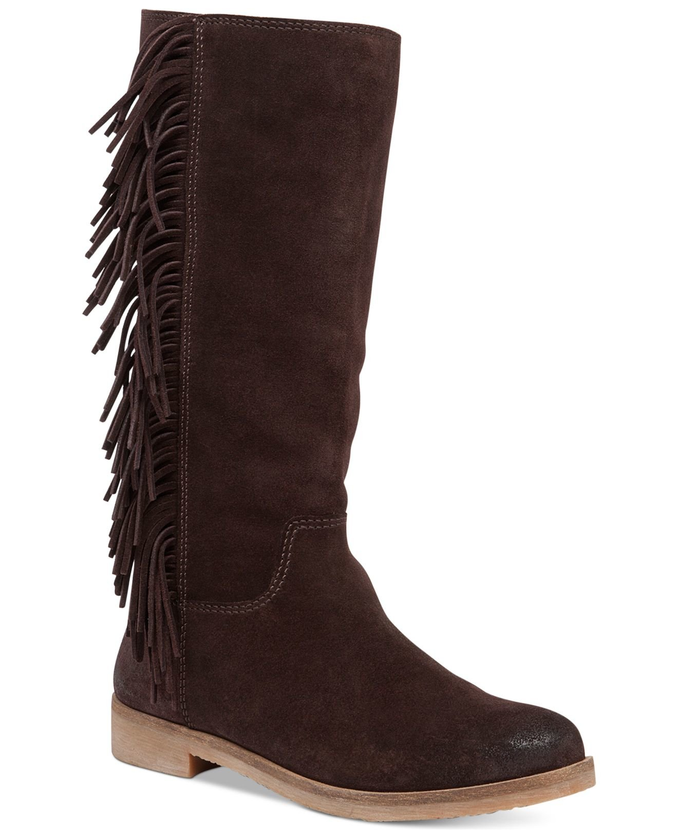 lucky brand s grayer fringe boots in brown java lyst
