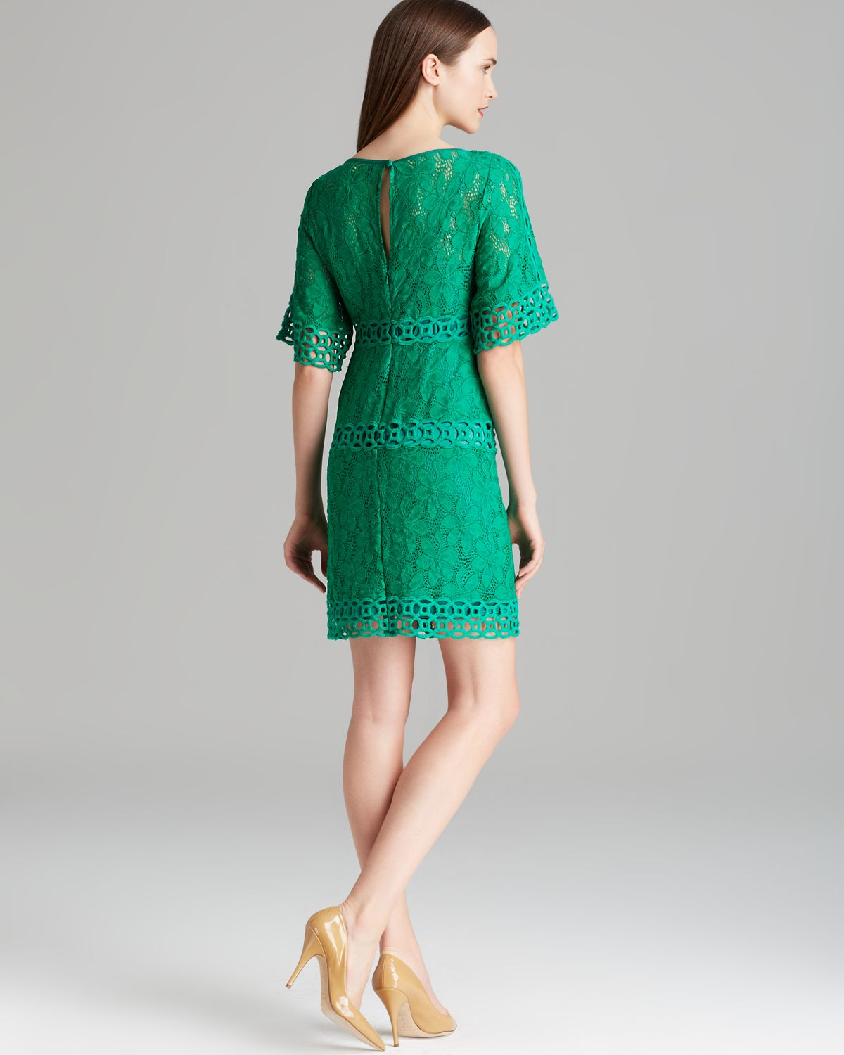 Laundry By Shelli Segal Dress Short Bell Sleeve In Green