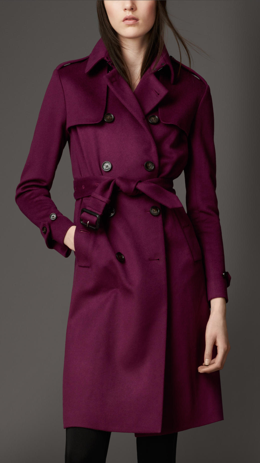 burberry long double cashmere trench coat in purple dark. Black Bedroom Furniture Sets. Home Design Ideas