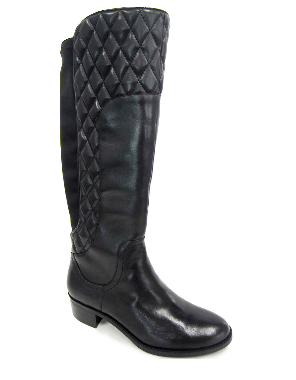 adrienne vittadini keith quilted leather mid calf boots in