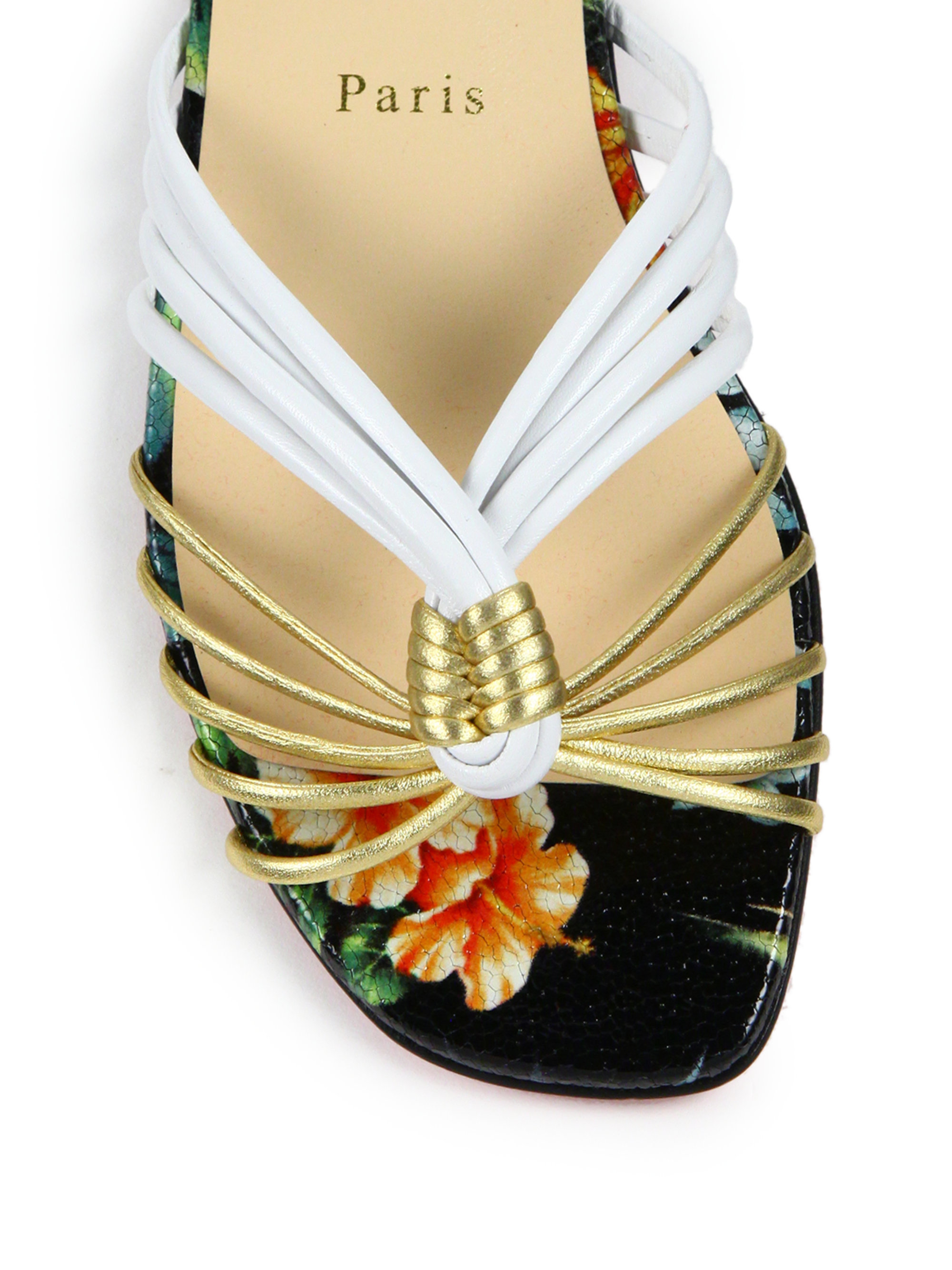 fake louboutin shoes - Christian louboutin Strappy Metallic Leather Flat Sandals in ...