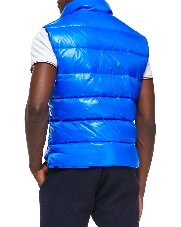 Moncler Synthetic Tib Puffer Vest In Navy Blue For Men