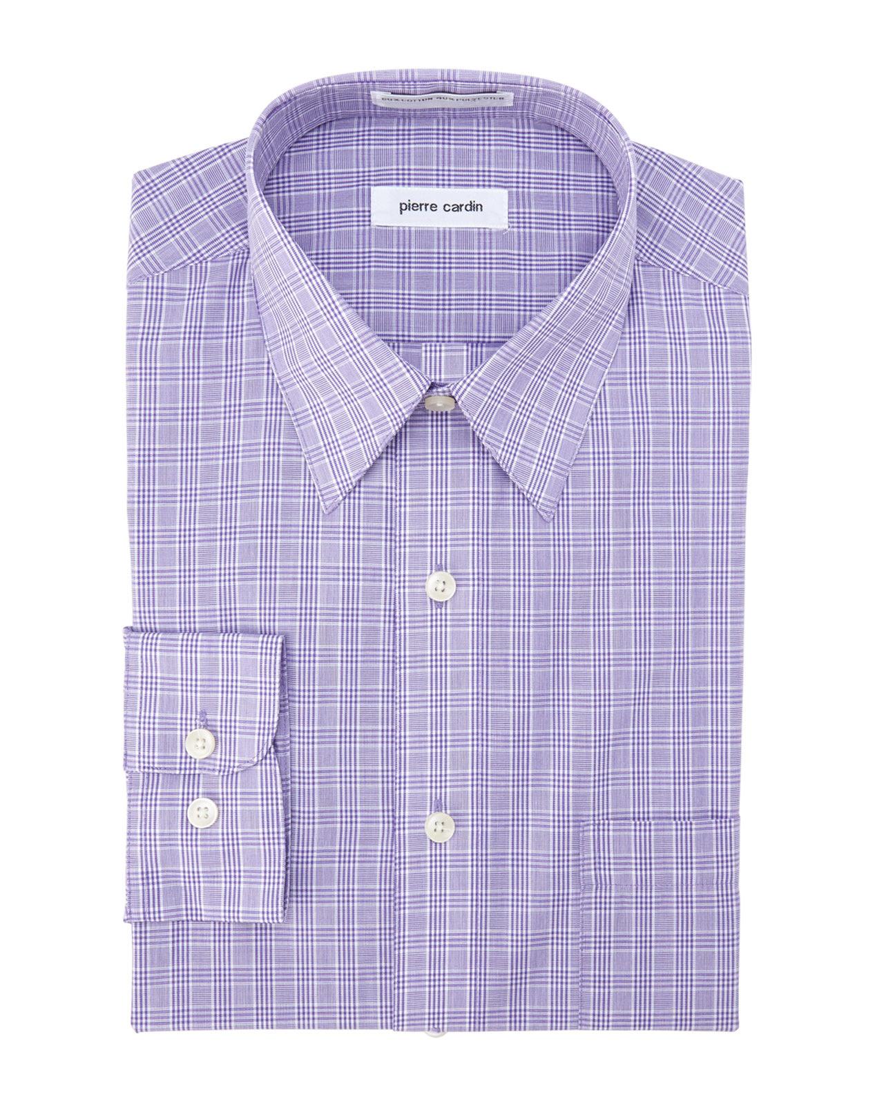 Pierre Cardin Purple White Glen Plaid Dress Shirt In