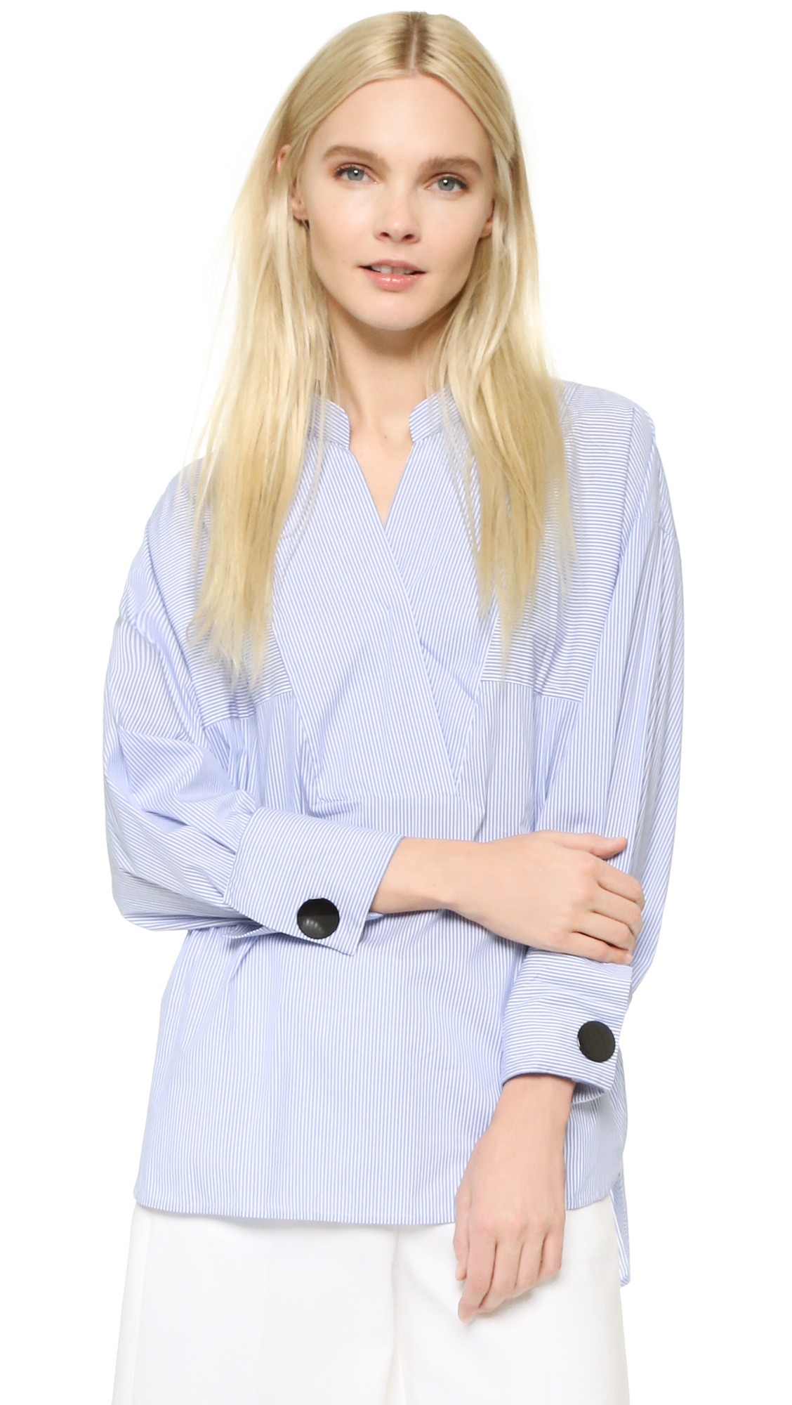 Edition10 Cotton Striped Crossover Blouse in Blue/White Stripe (Blue)